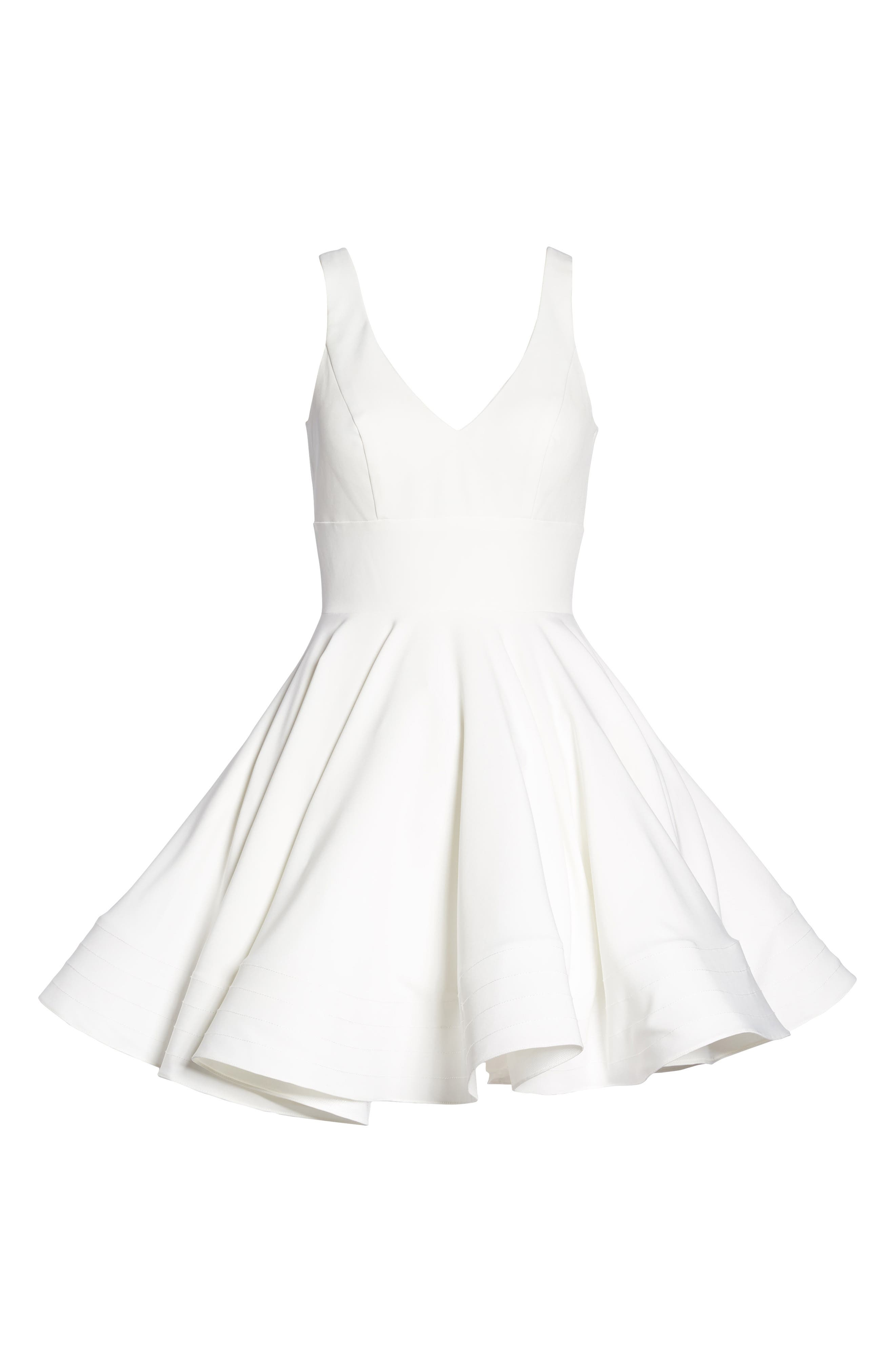 Double V-Neck Fit & Flare Party Dress,                             Alternate thumbnail 6, color,                             Ivory