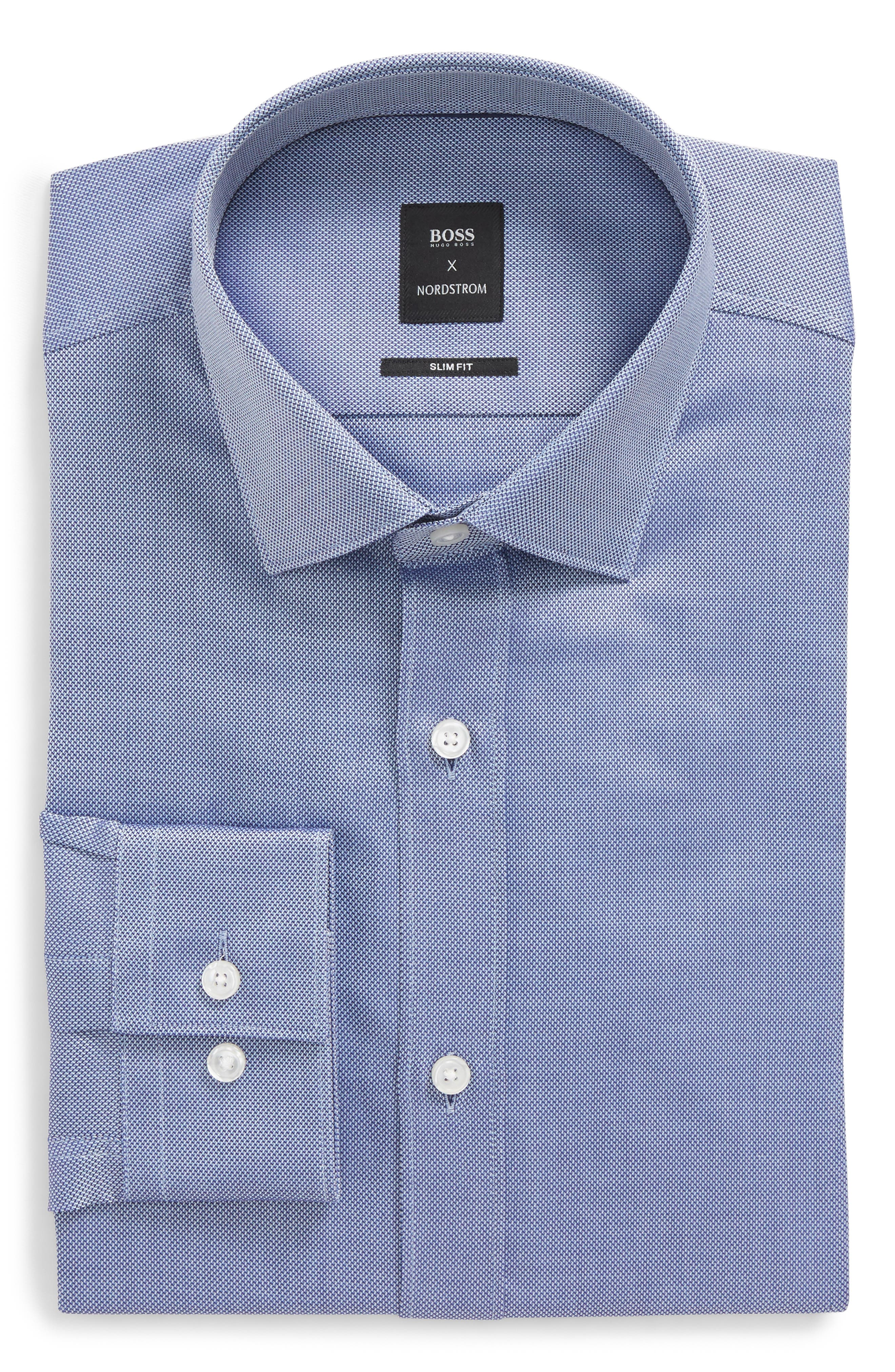 Nordstrom x BOSS Isaak Slim Fit Solid Dress Shirt,                         Main,                         color, Blue