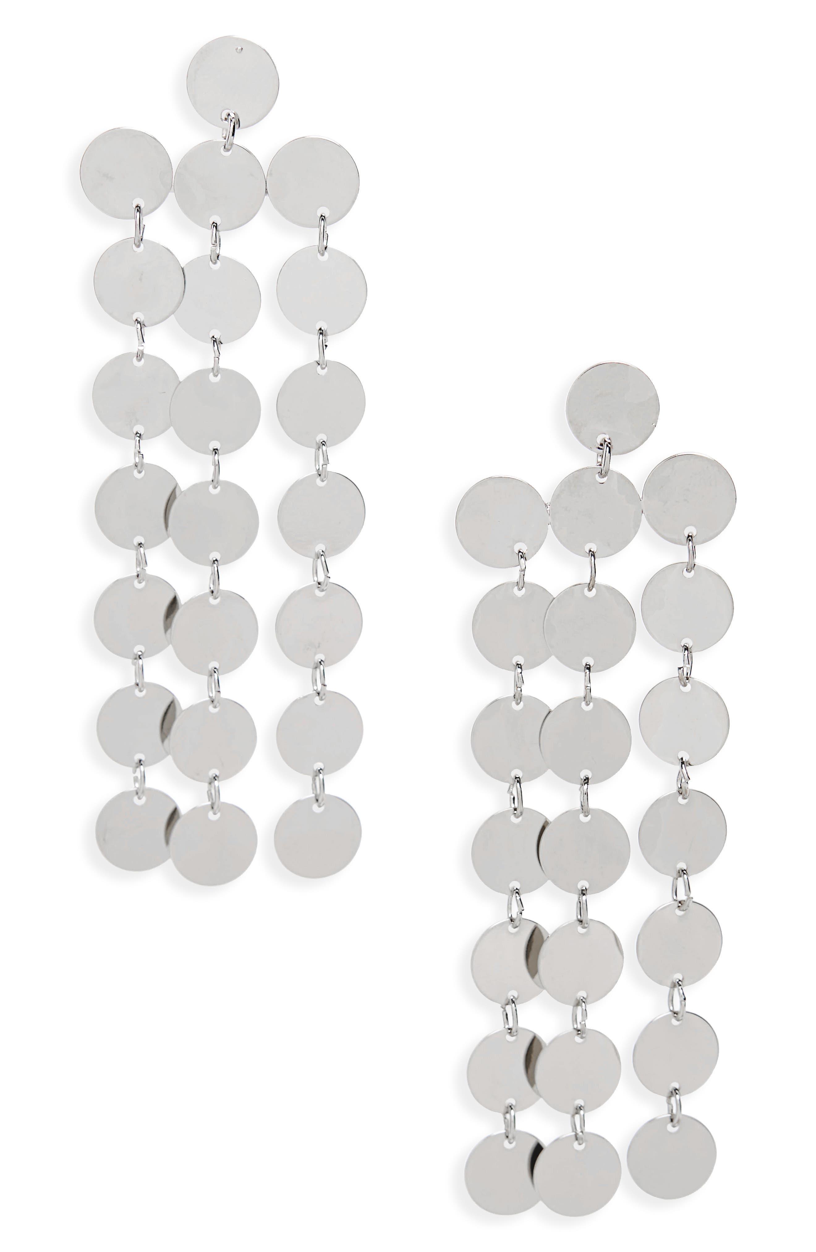Circle Chain Fringe Earrings,                             Main thumbnail 1, color,                             Silver