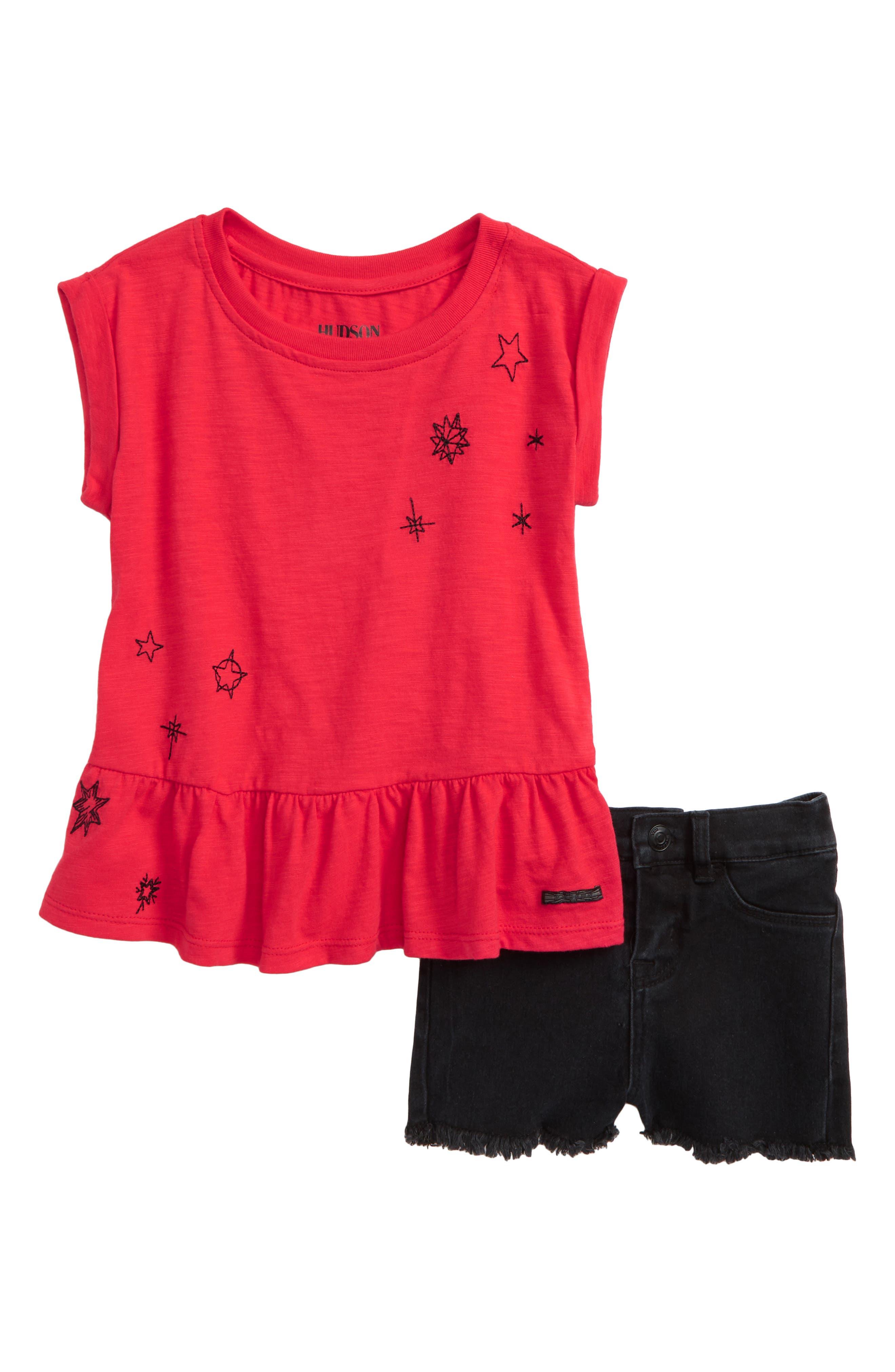 Peplum Tee & Shorts Set,                             Main thumbnail 1, color,                             Black Vintage