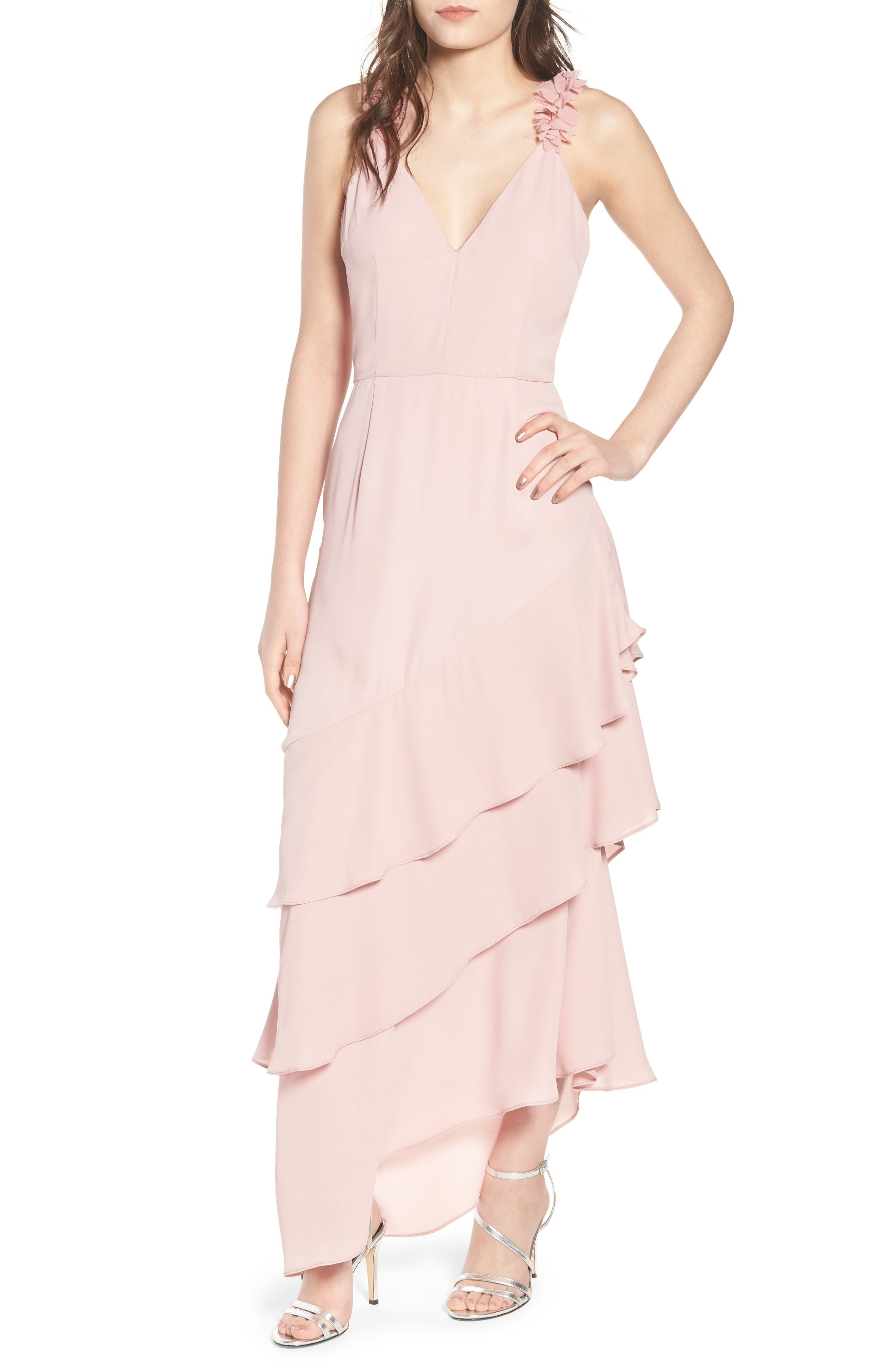 Alternate Image 1 Selected - LOST INK Ruffled Asymmetrical Maxi Dress