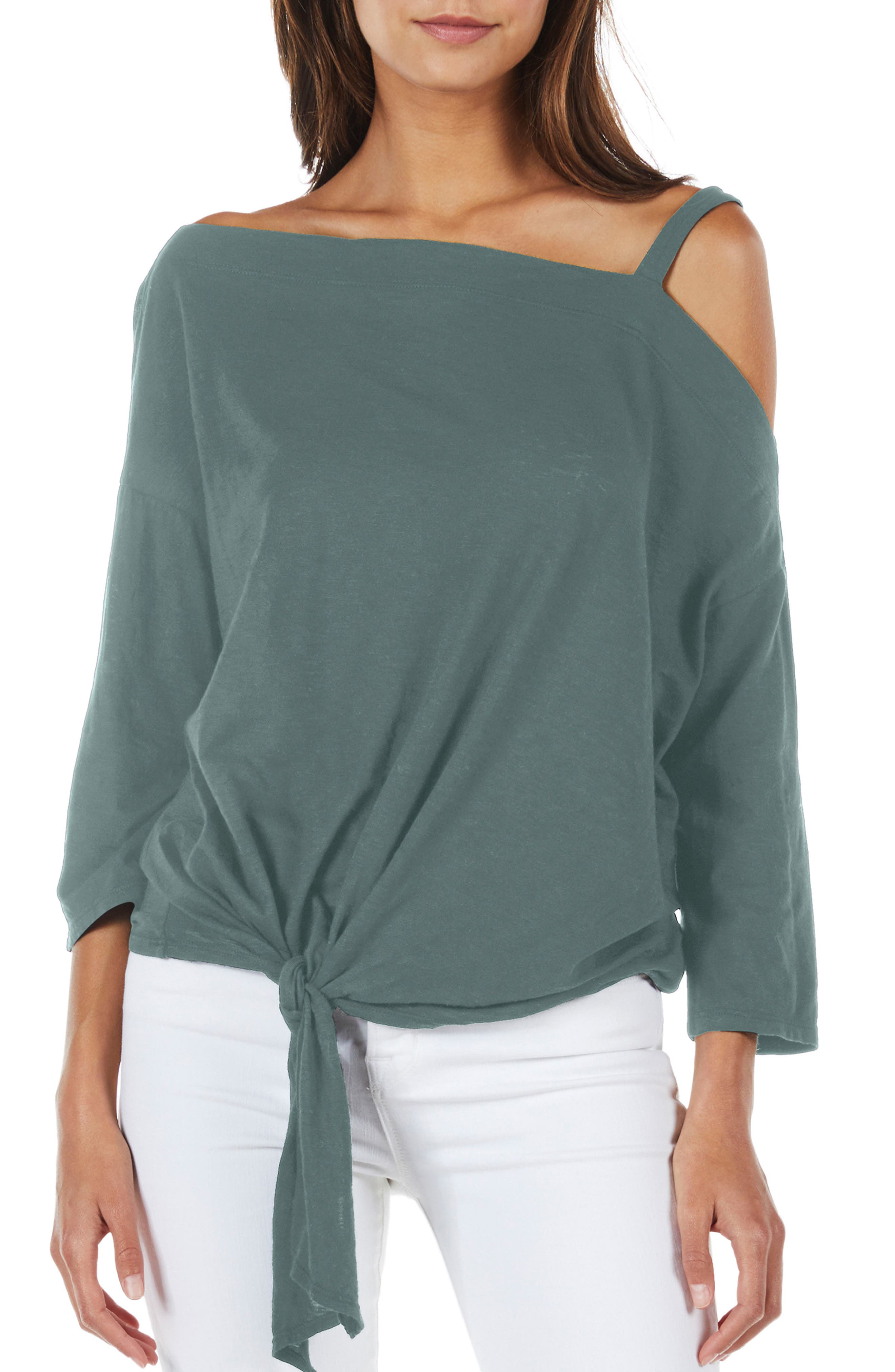 Knot Front Top,                         Main,                         color, Basil