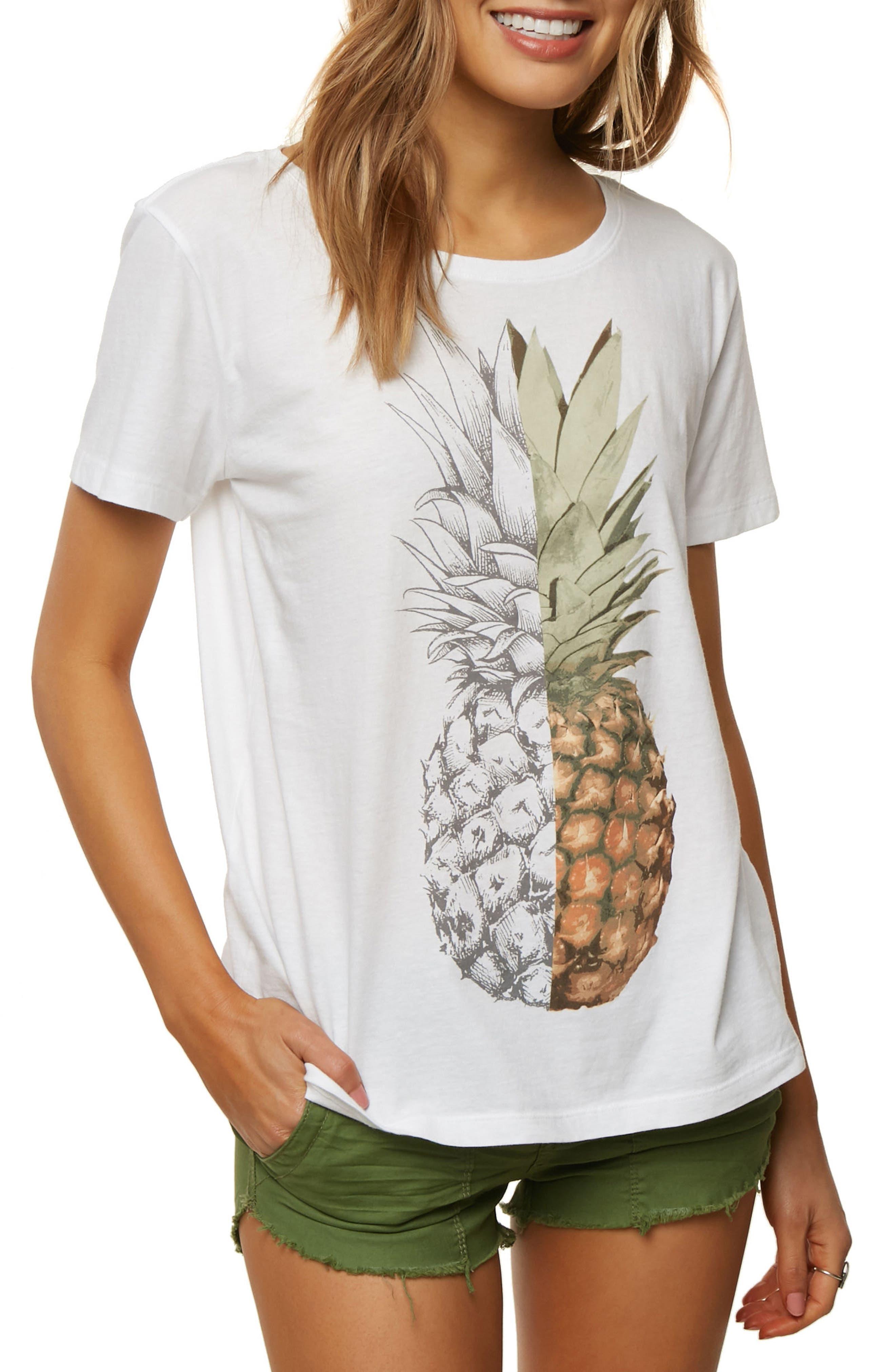 Half n Half Pineapple Graphic Tee,                         Main,                         color, White