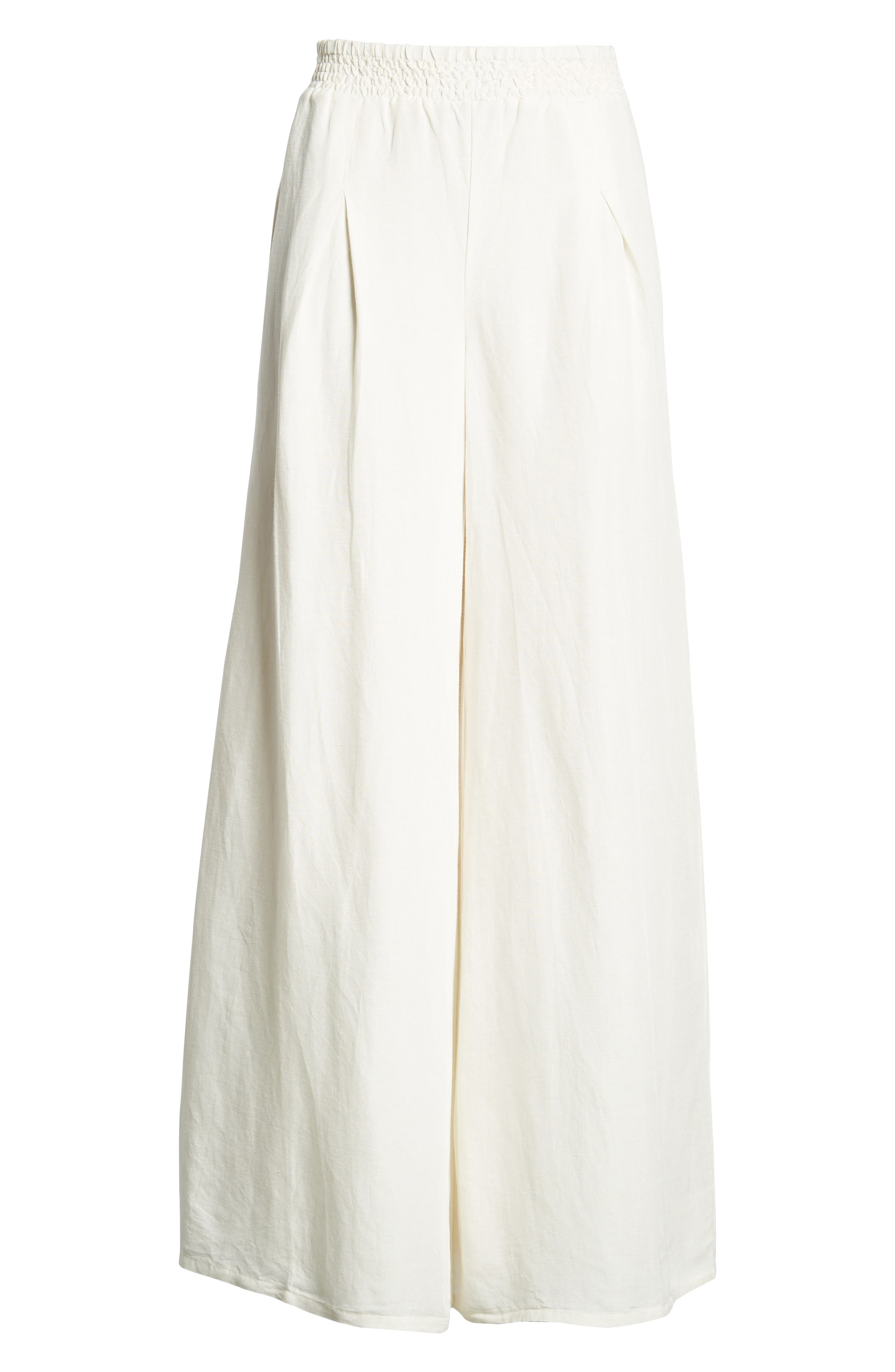High Roads Smocked Wide Leg Pants,                             Alternate thumbnail 7, color,                             Cool Whip