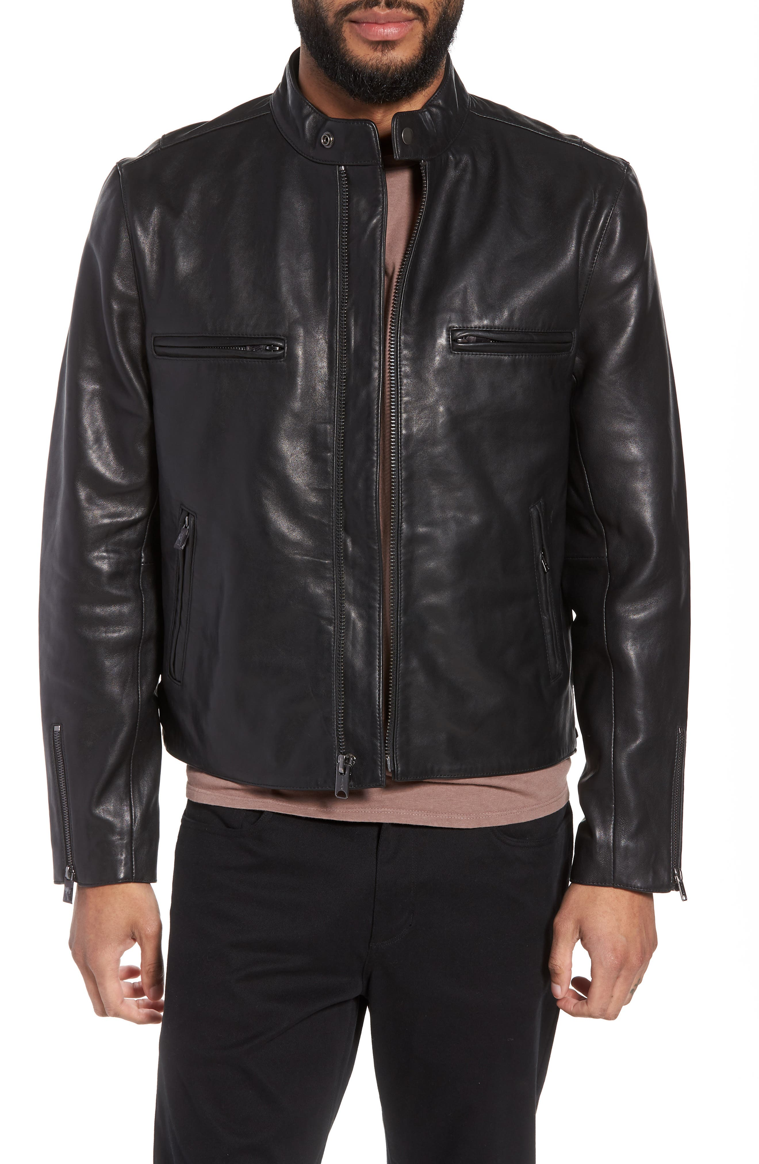 Hudson Racer Slim Fit Leather Moto Jacket,                             Main thumbnail 1, color,                             Black