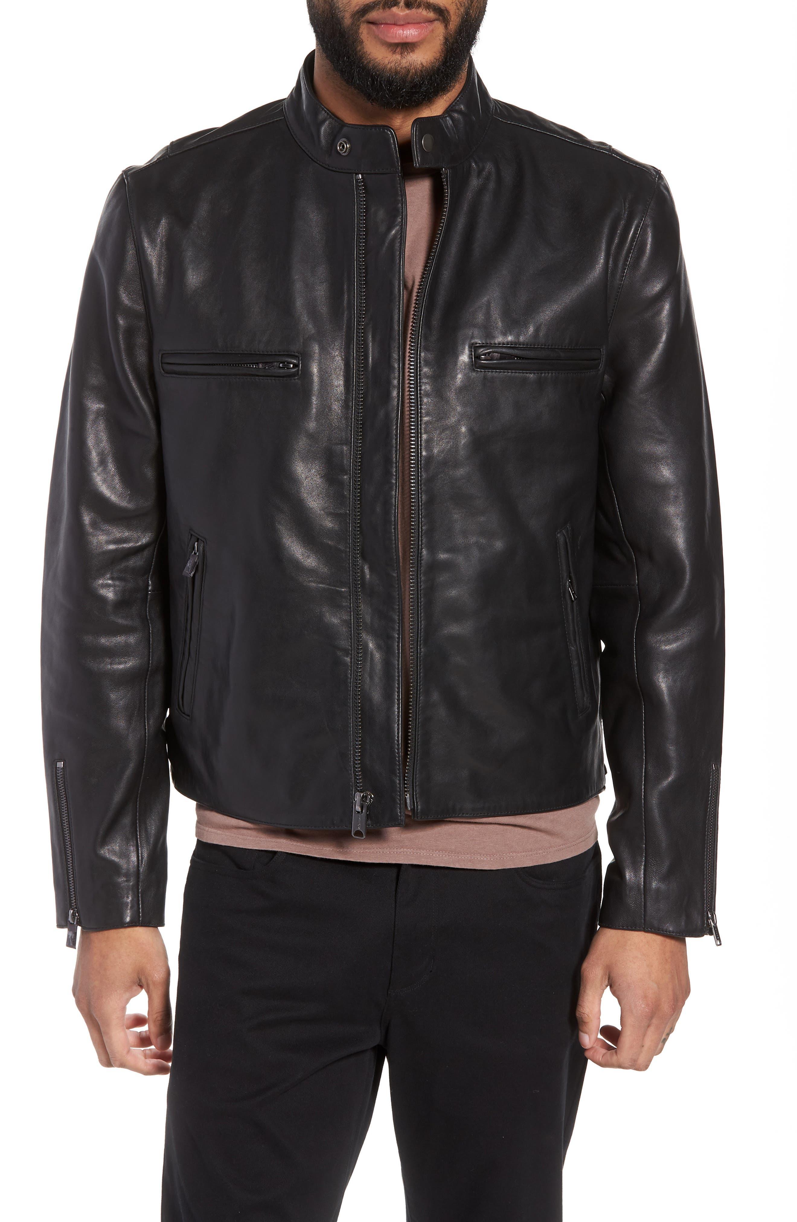 Hudson Racer Slim Fit Leather Moto Jacket,                         Main,                         color, Black