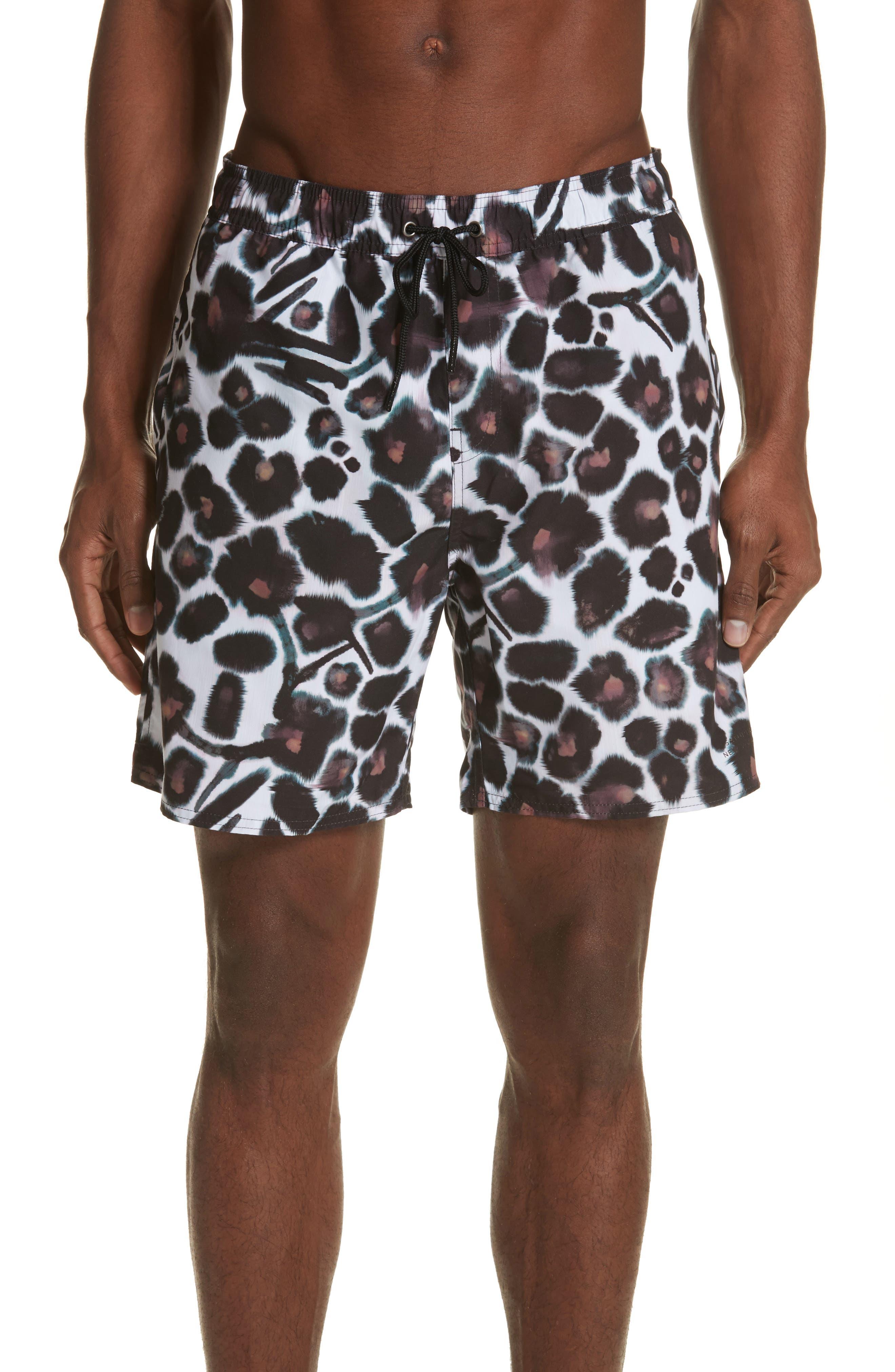 Timothy Watercolor Floral Swim Shorts,                         Main,                         color, White/ Dark Mauve