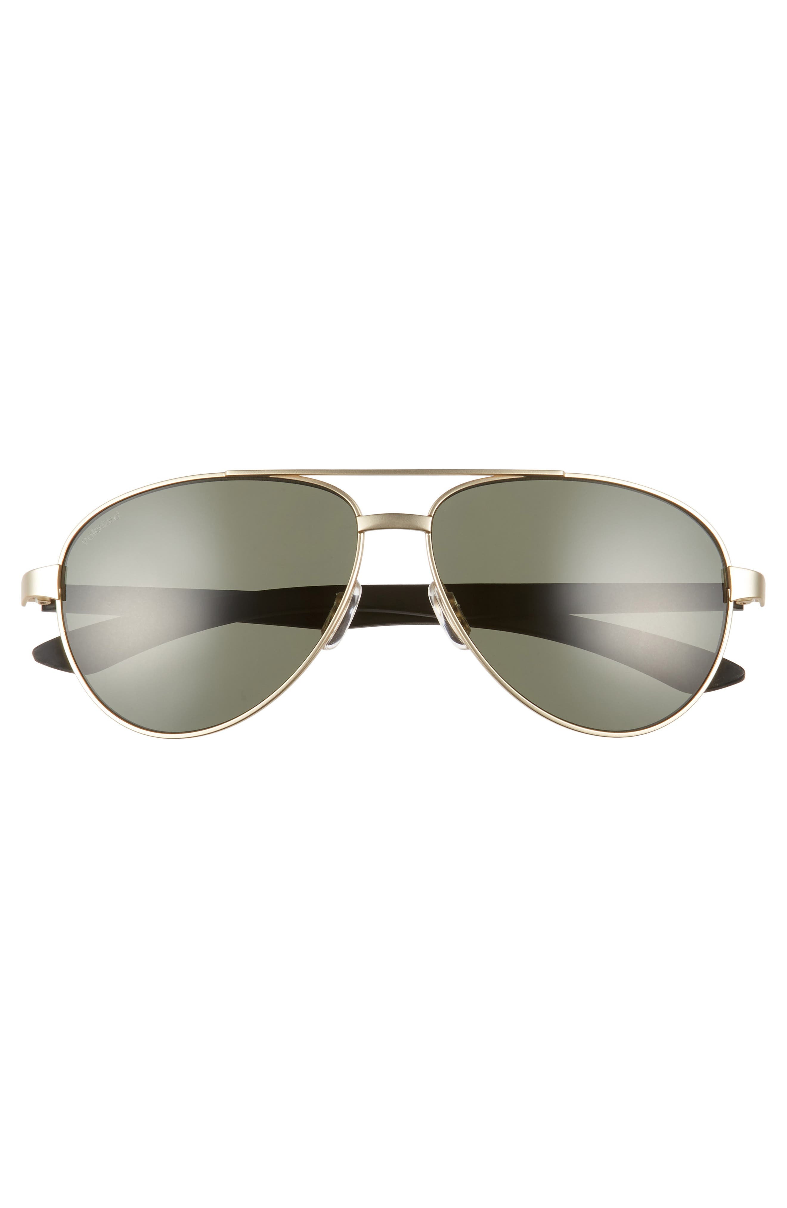 Salute 59mm Polarized Aviator Sunglasses,                             Alternate thumbnail 3, color,                             Matte Gold