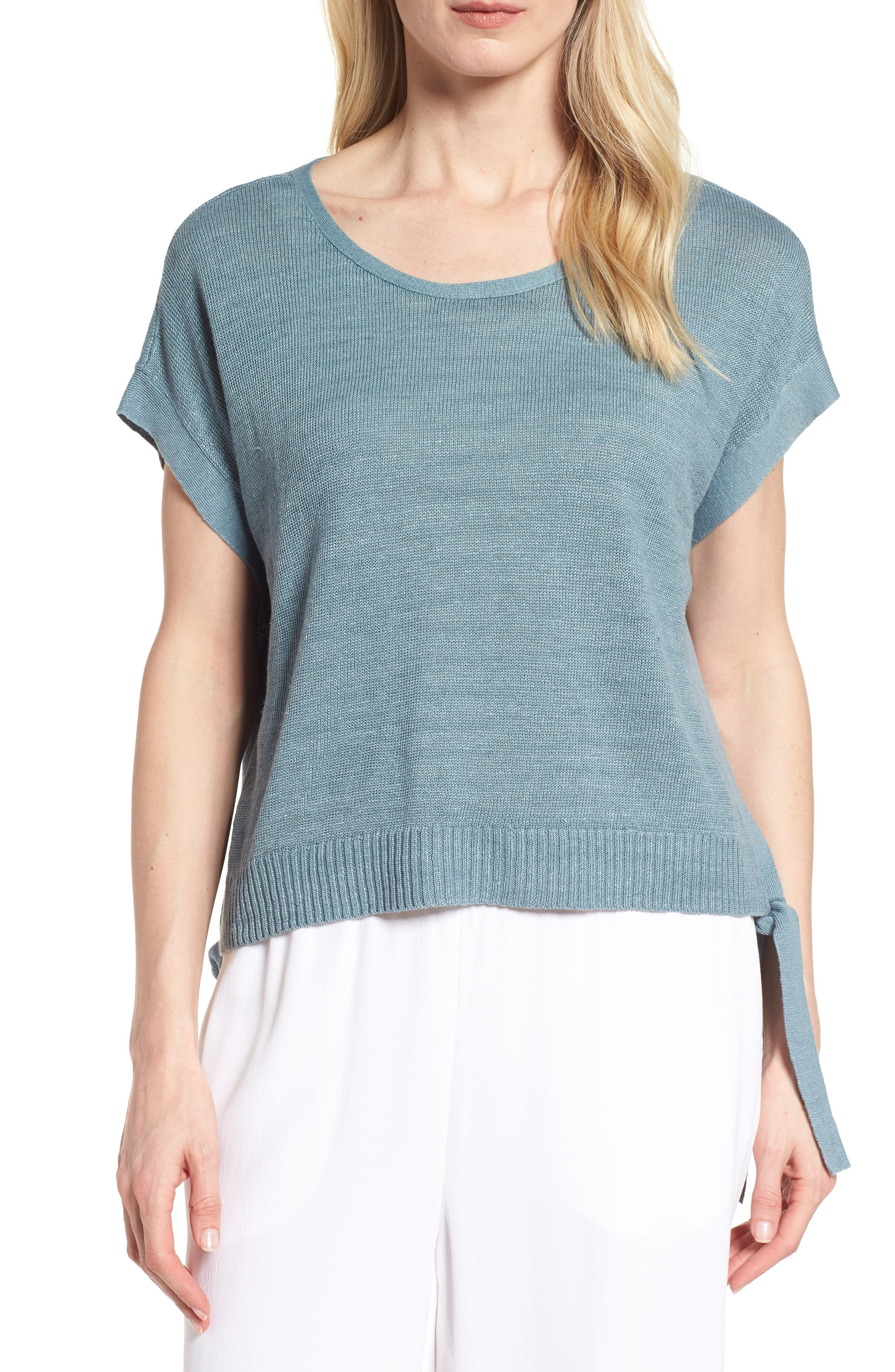 Short Organic Linen Poncho Top,                             Main thumbnail 1, color,                             Blue Steel