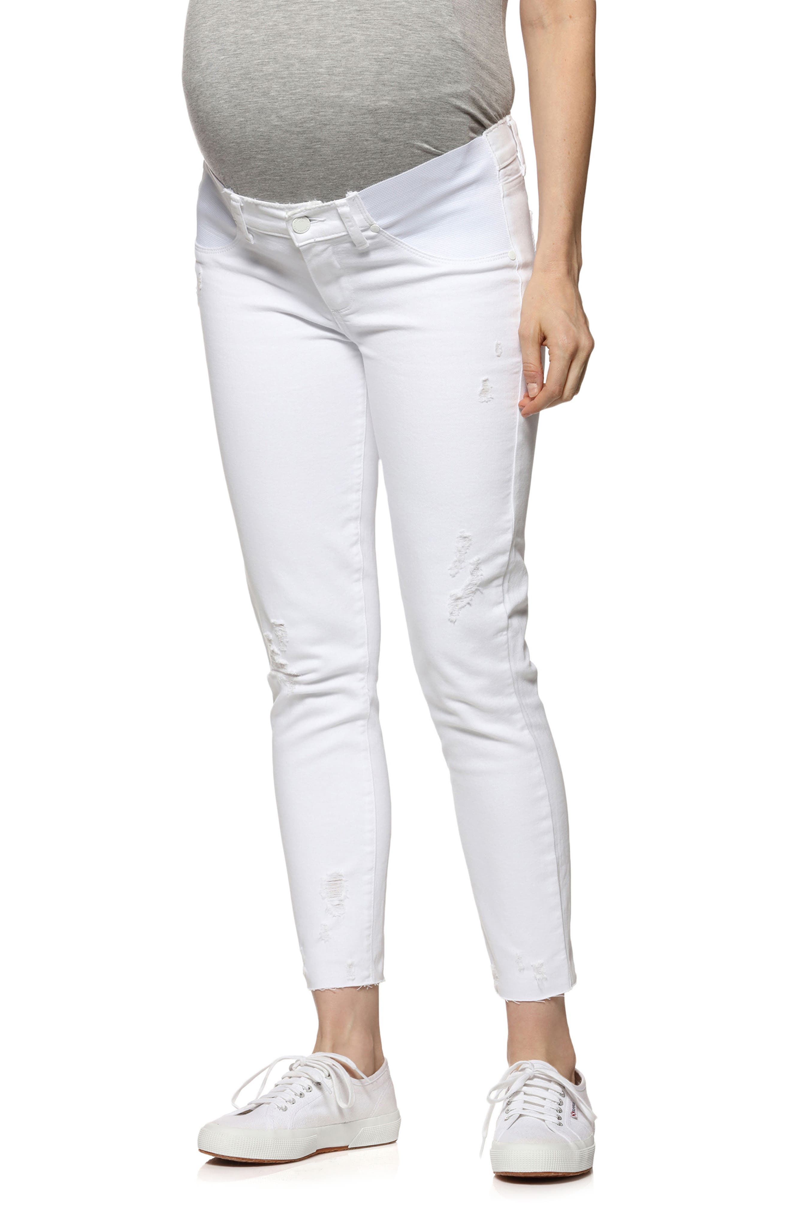 Verdugo Raw Hem Crop Skinny Maternity Jeans,                             Main thumbnail 1, color,                             Whiteout Destructed
