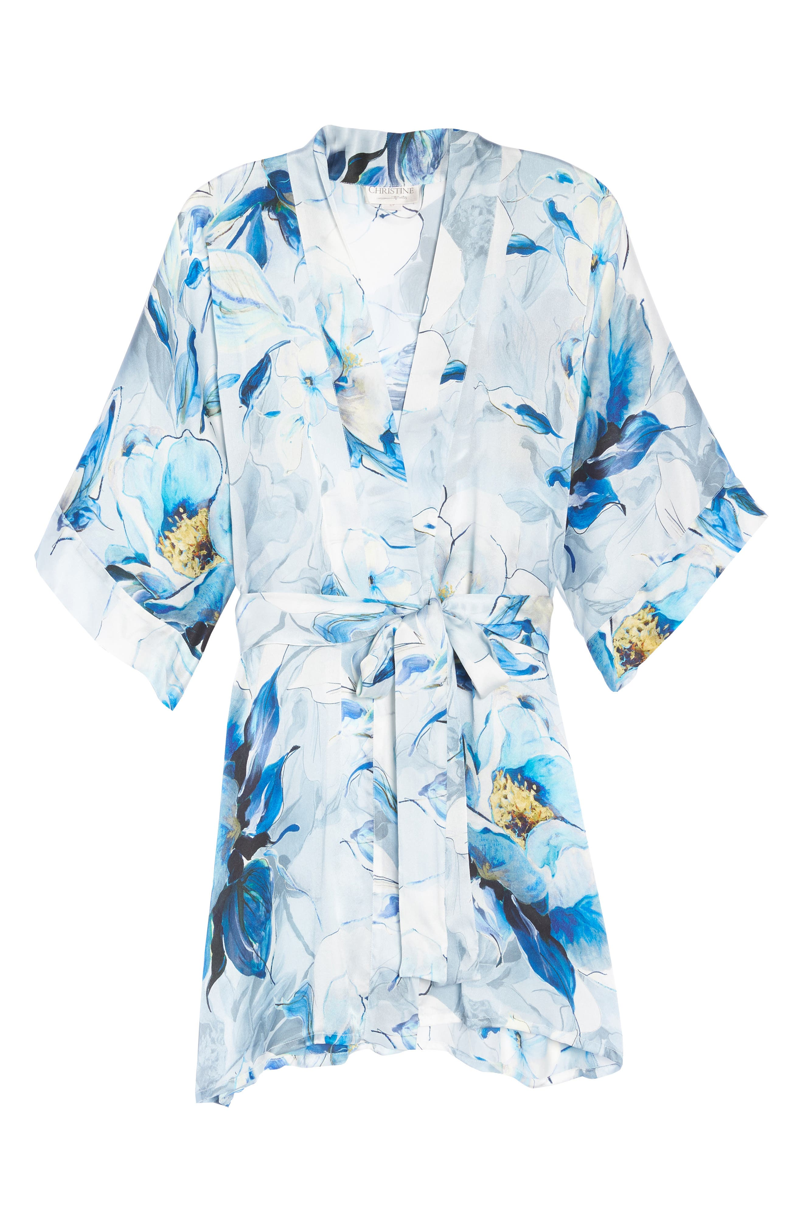 Short Silk Robe,                             Alternate thumbnail 4, color,                             Swept Away Print