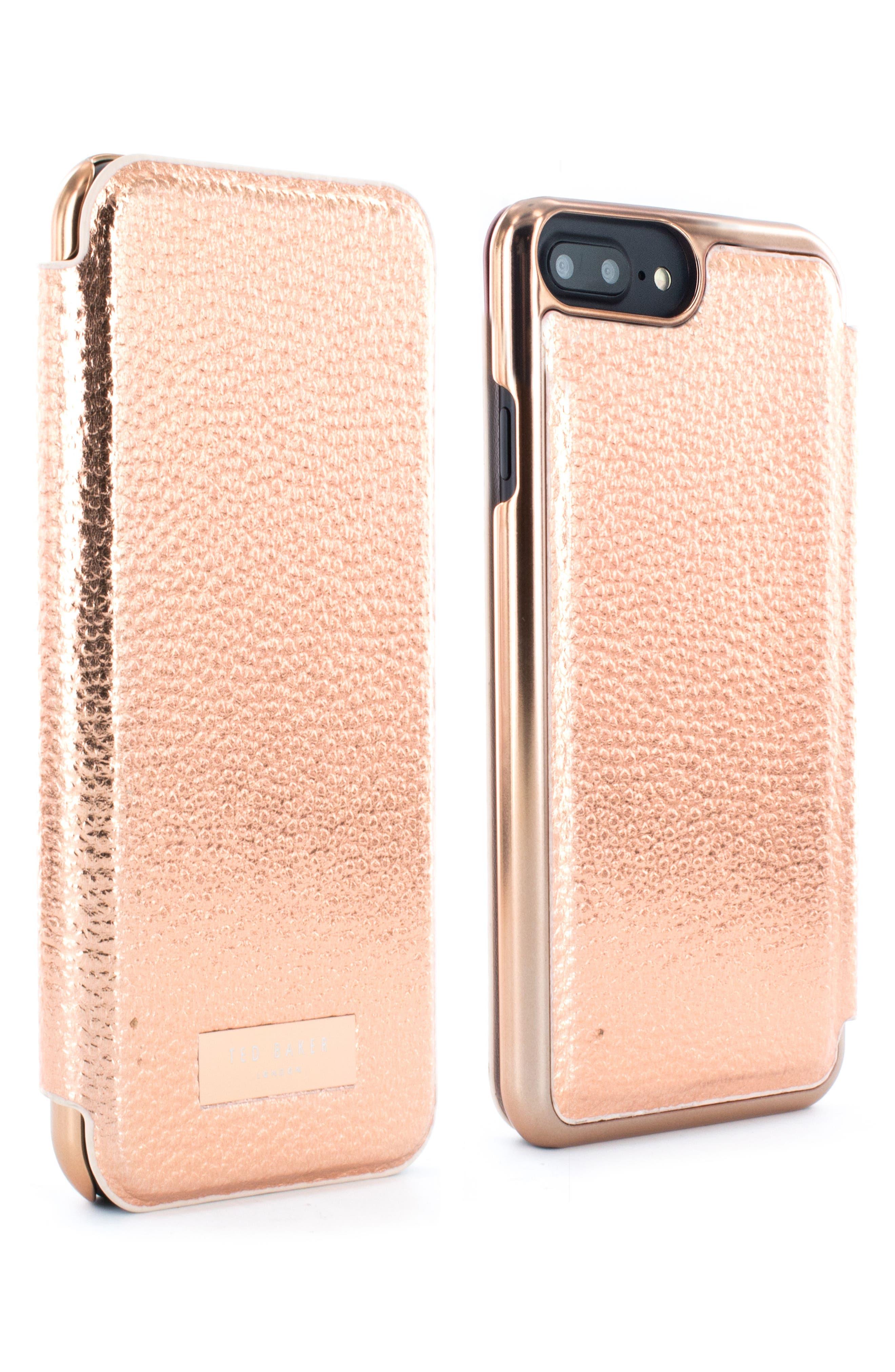 Faux Leather iPhone 6/6s/7/8 & 6/6s/7/8 Plus Mirror Folio Case,                             Alternate thumbnail 2, color,                             Rose Gold