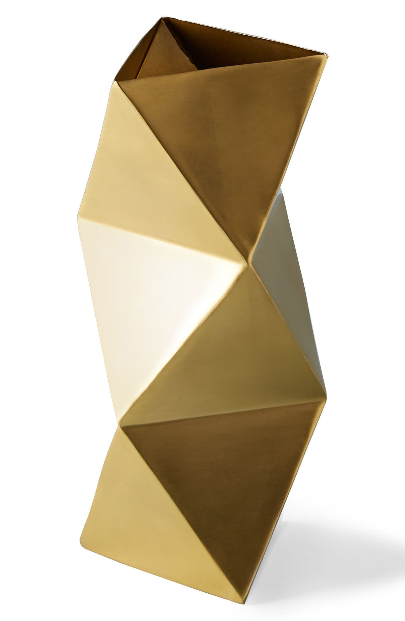 Faceted Triangle Metal Vase,                             Alternate thumbnail 4, color,                             Gold