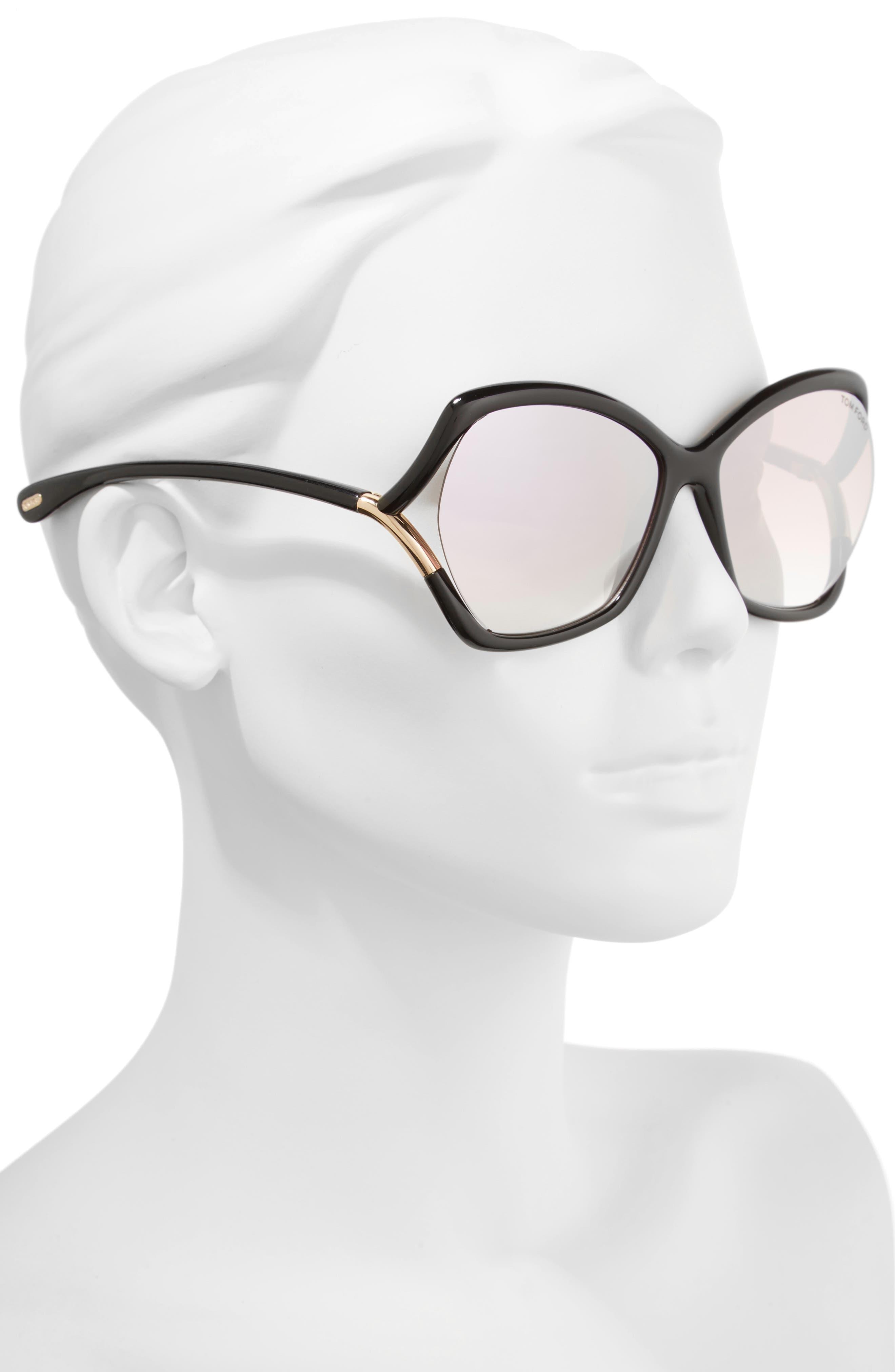 Astrid 61mm Geometric Sunglasses,                             Alternate thumbnail 2, color,                             Black/ Rose Gold/ Pink/ Silver