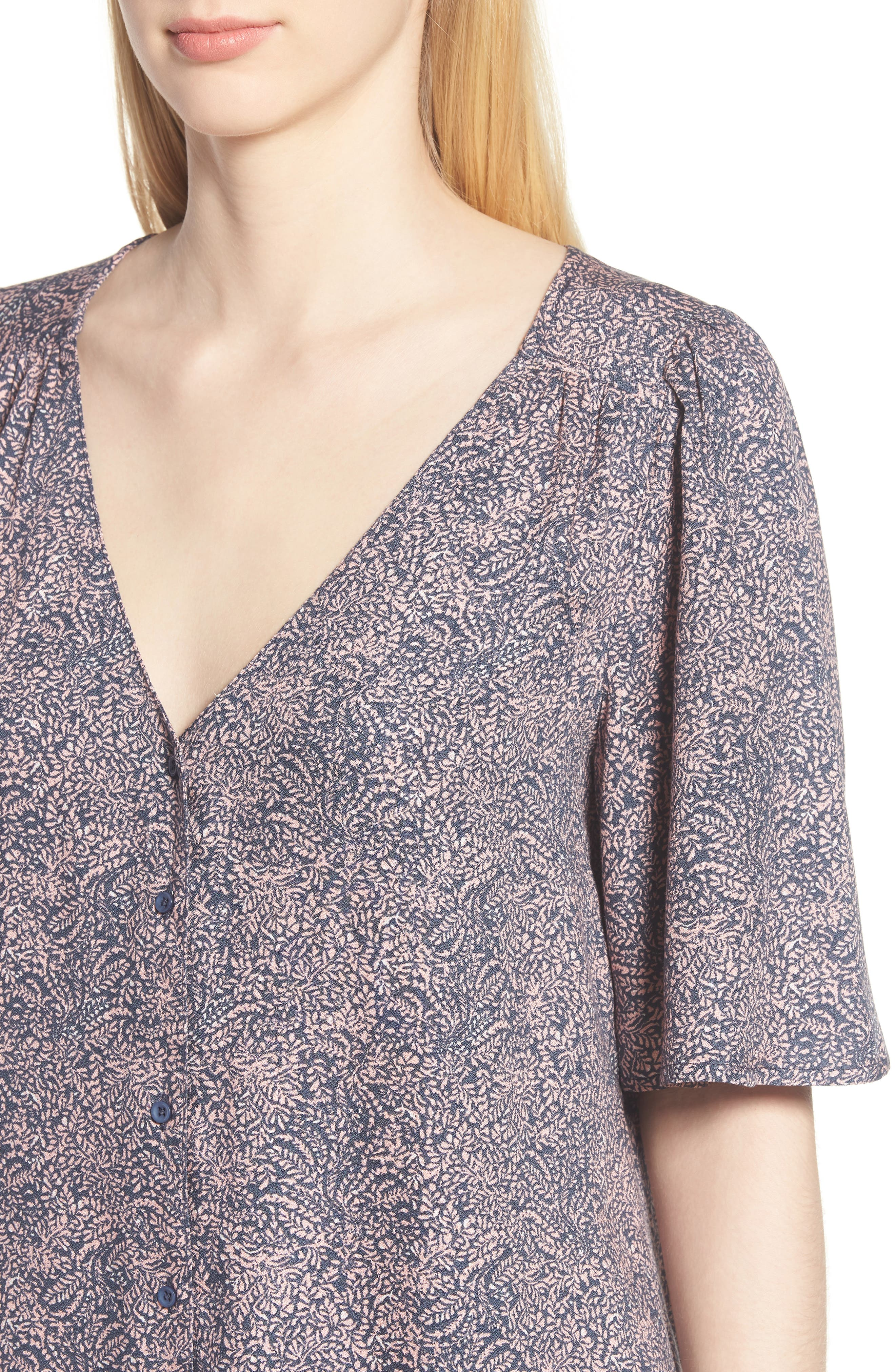 Button Front V-Neck Top,                             Alternate thumbnail 4, color,                             Navy Blue Branches