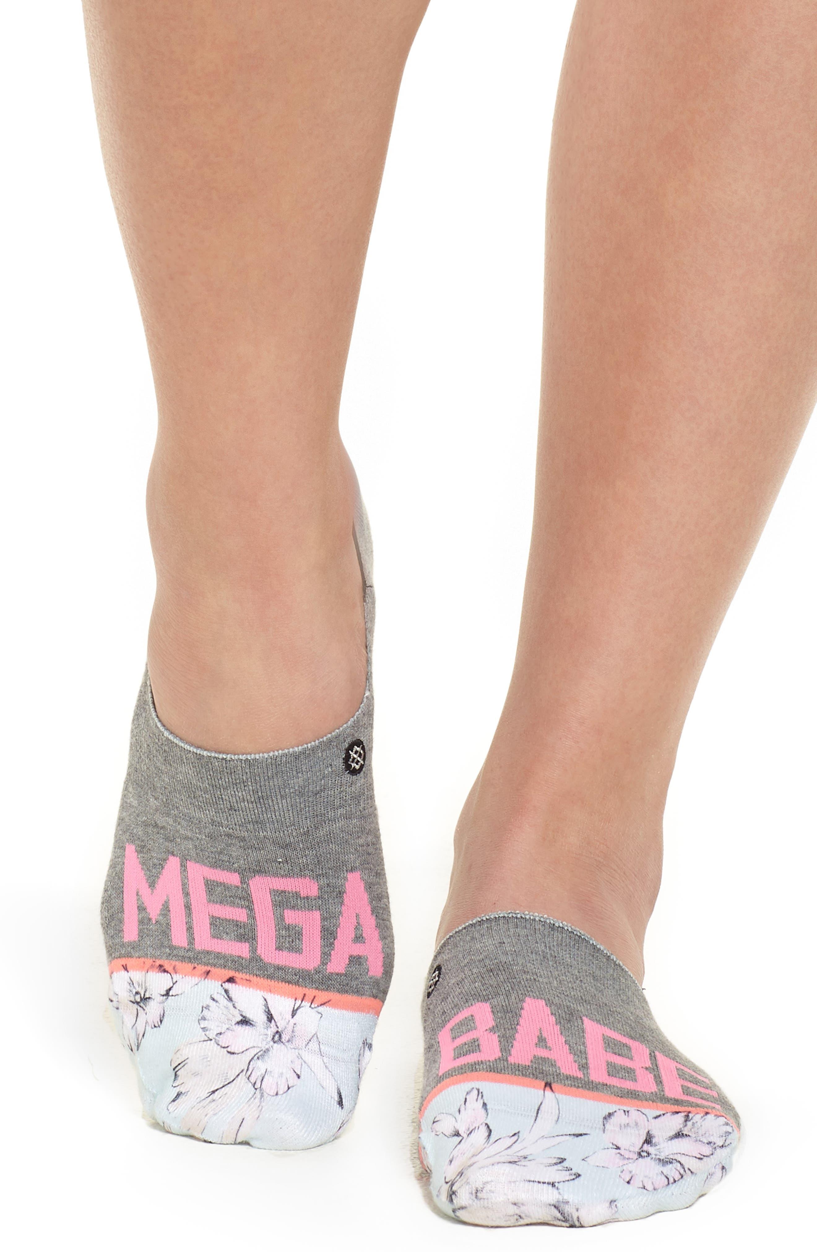 Mega Babe No-Show Socks,                             Alternate thumbnail 3, color,                             Grey