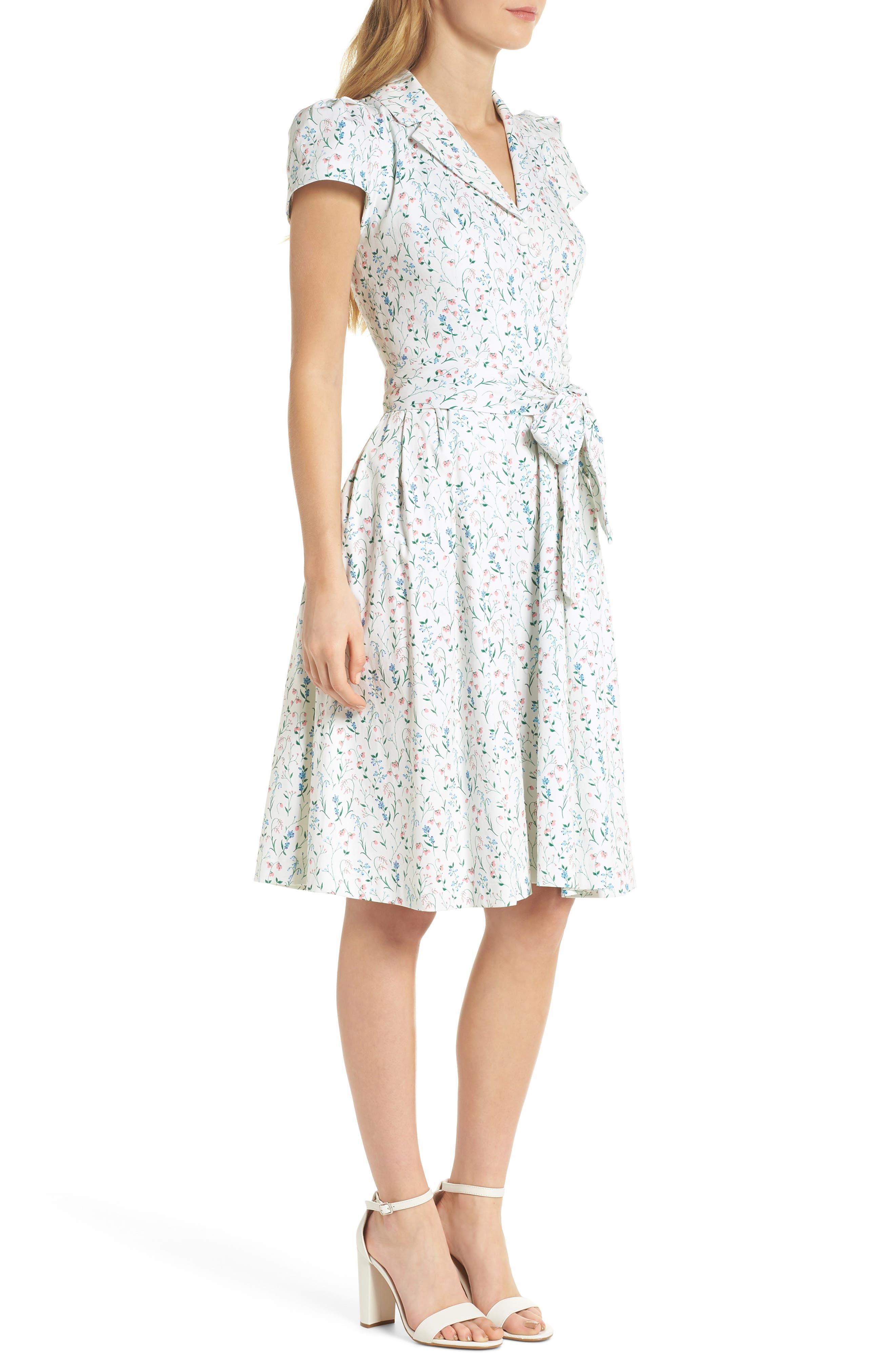 Anne Spring Sprig Print Wrap Style Dress,                             Alternate thumbnail 4, color,                             Pink