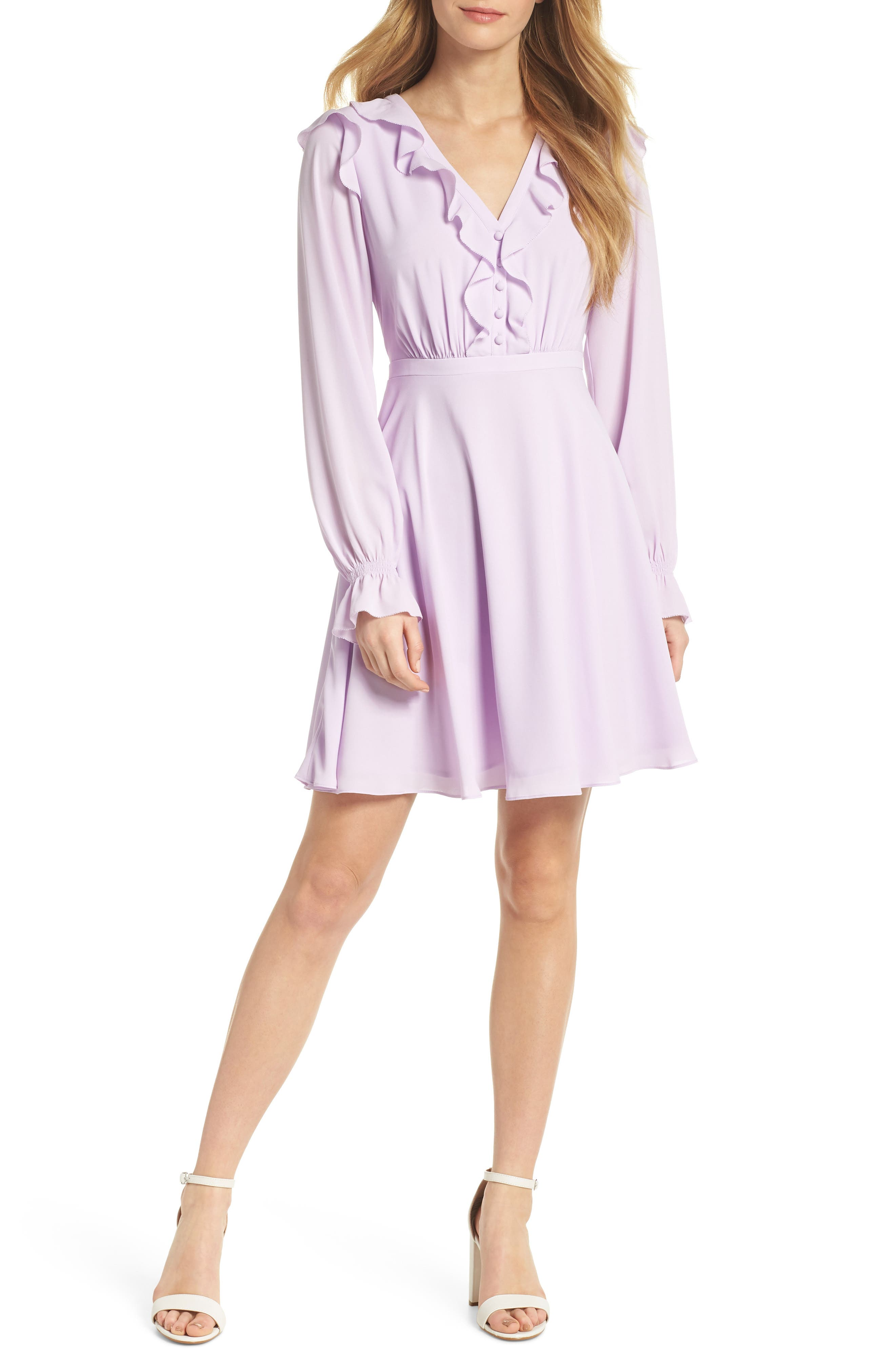 Haley Ruffle Georgette Dress,                             Main thumbnail 1, color,                             Lilac