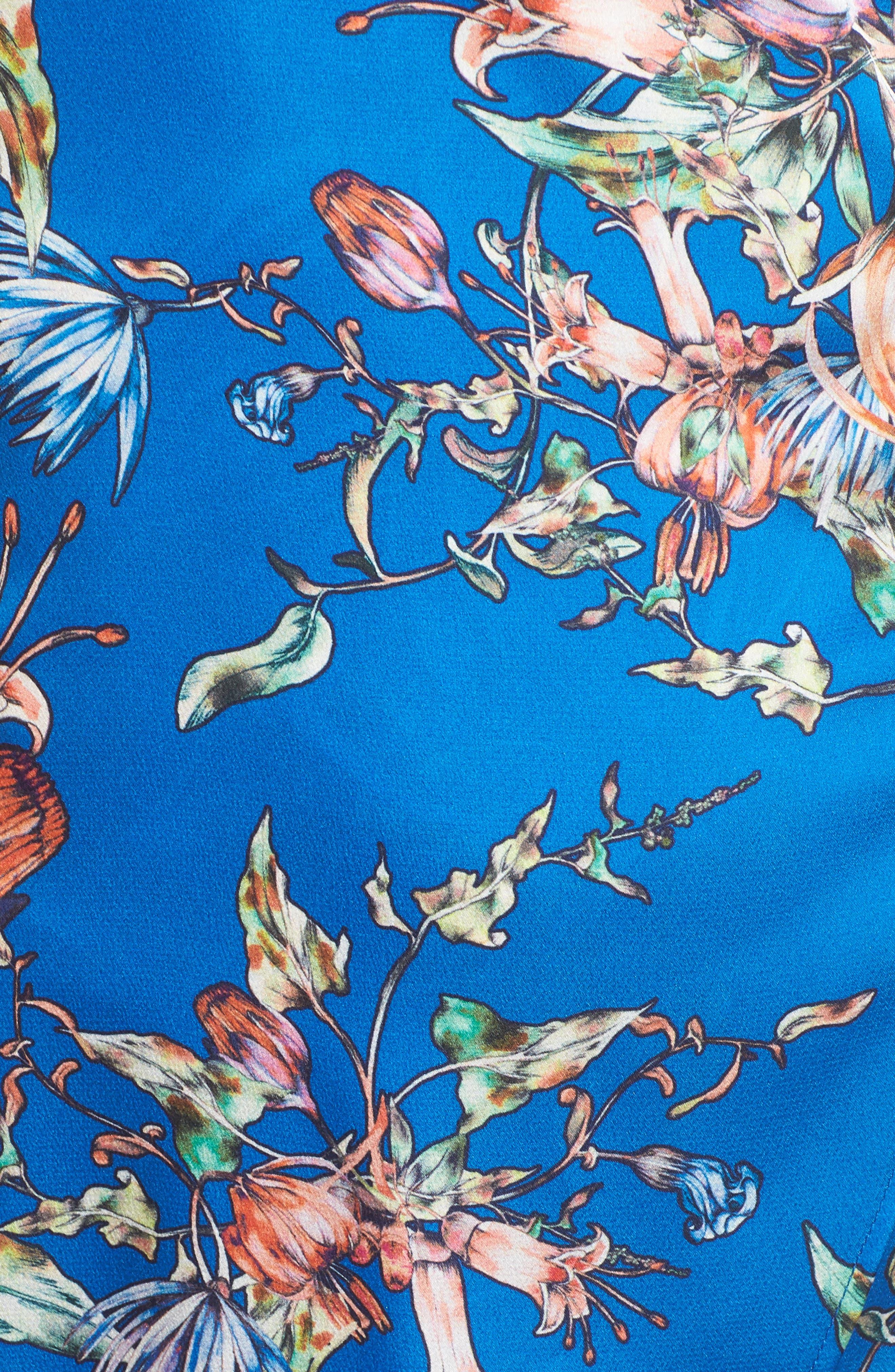 Floral Print Satin Faux Wrap Dress,                             Alternate thumbnail 6, color,                             Royal