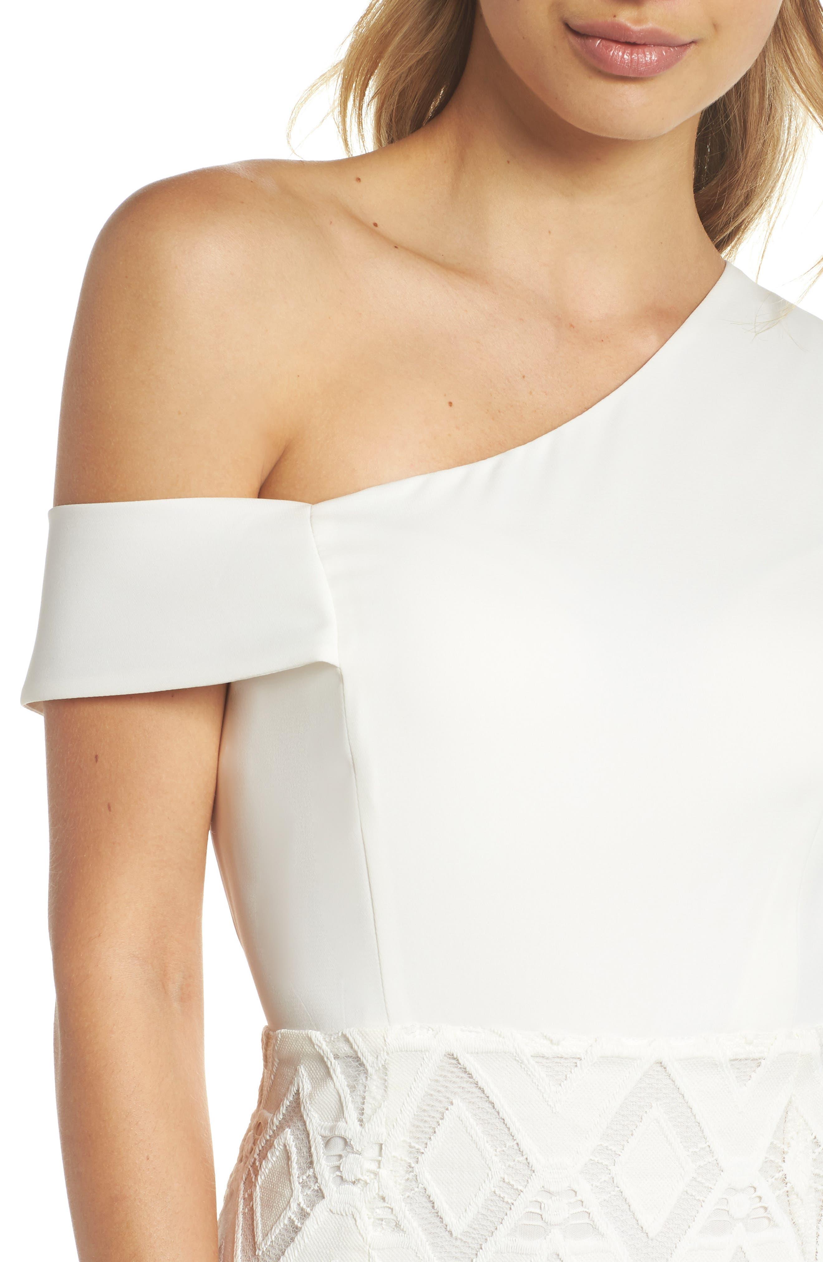 One-Shoulder Lace Sheath Dress,                             Alternate thumbnail 4, color,                             White