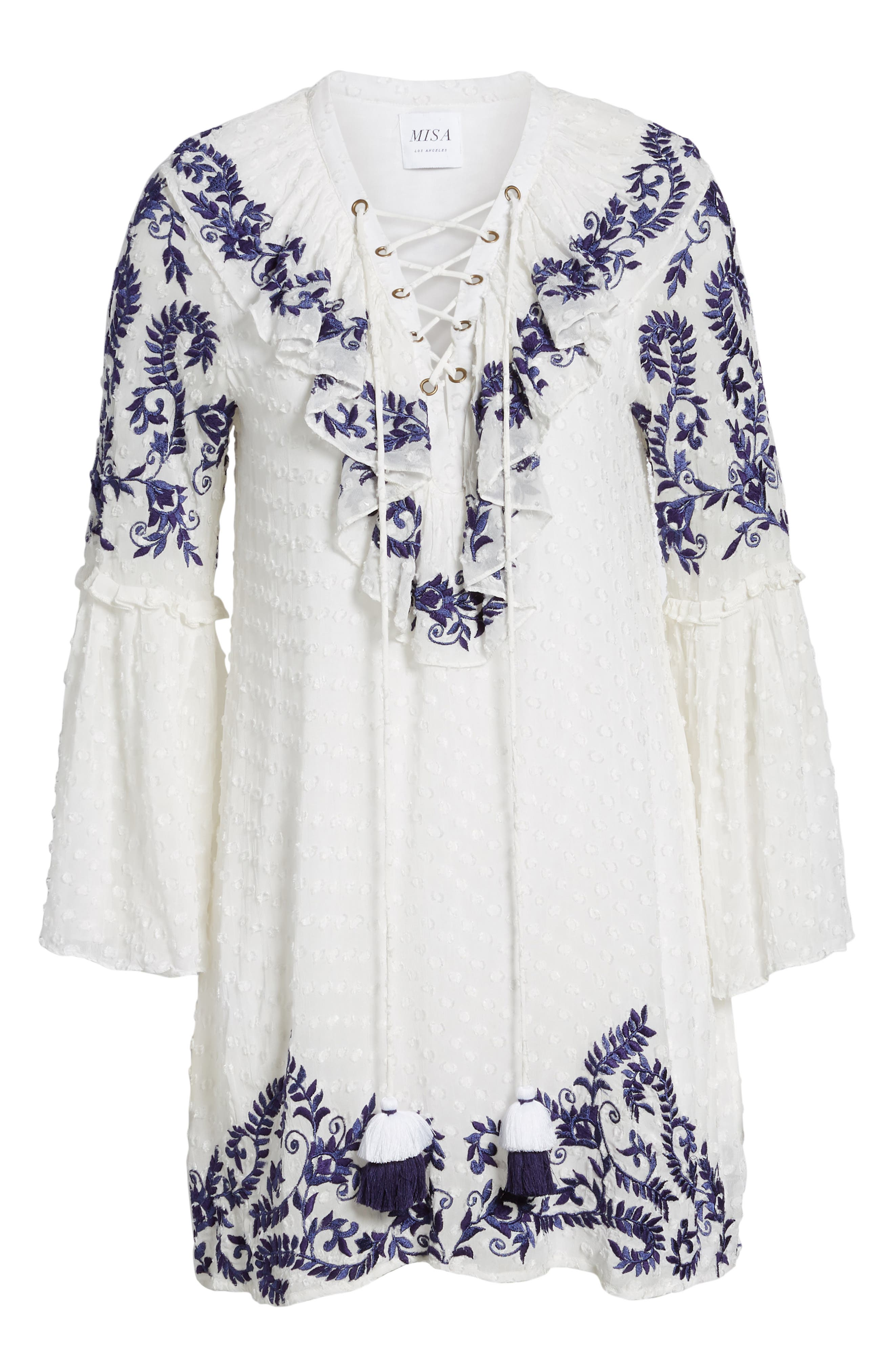 Cyrielle Embroidered Dress,                             Alternate thumbnail 6, color,                             White