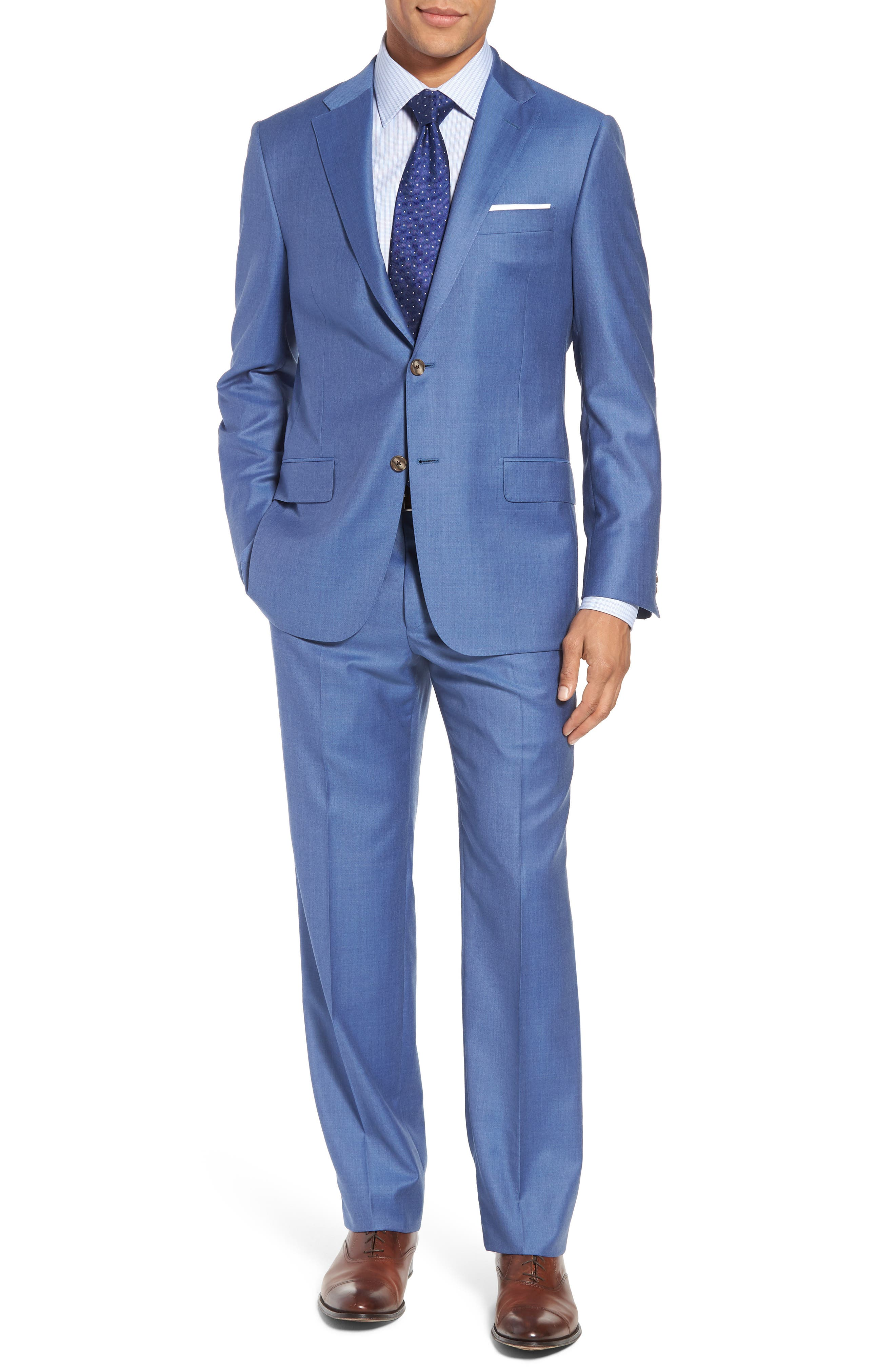 Classic B Fit Solid Wool Suit,                             Main thumbnail 1, color,                             Light Blue Solid