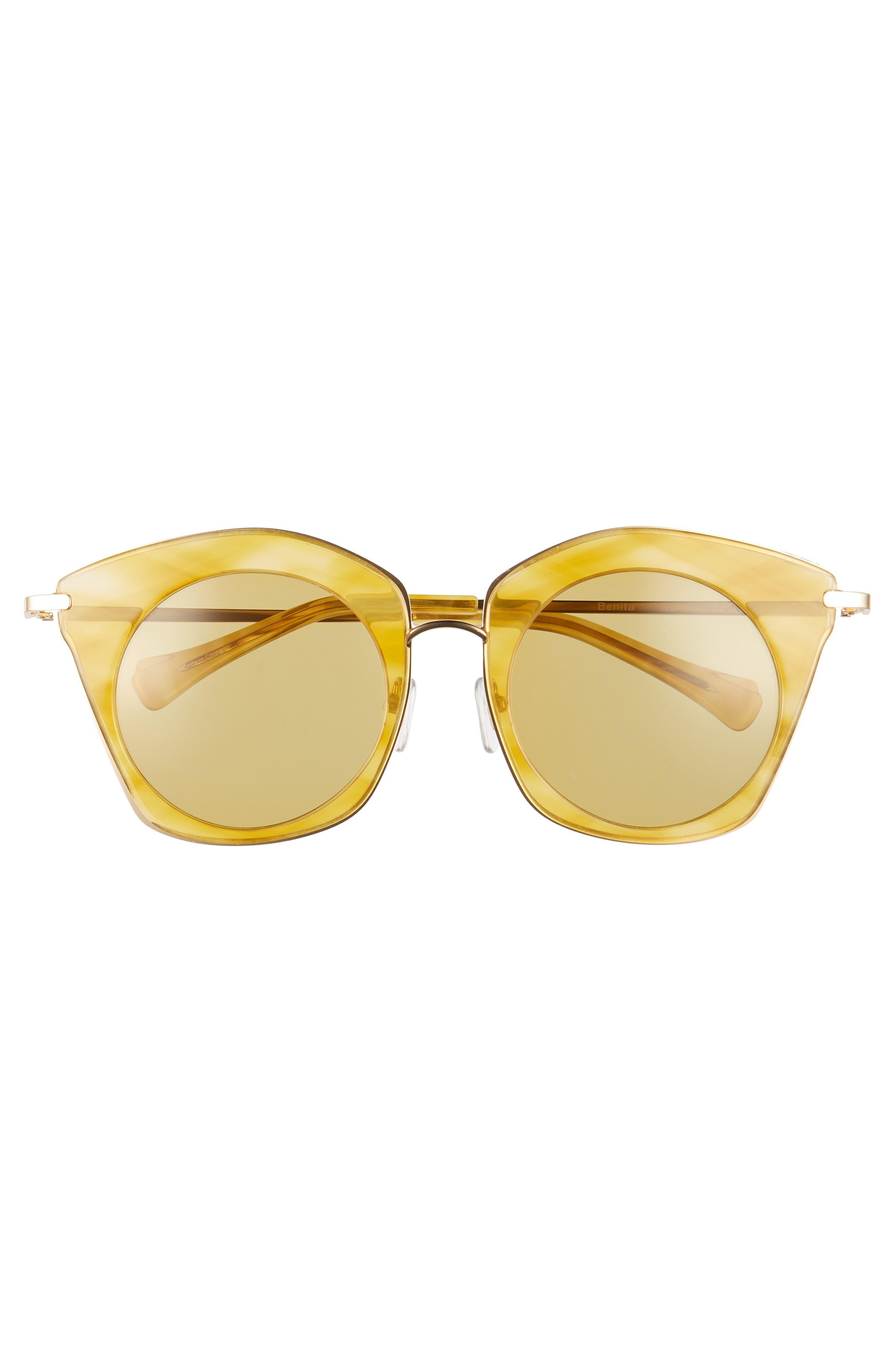 Benita 52mm Polarized Sunglasses,                             Alternate thumbnail 3, color,                             Gold Polar