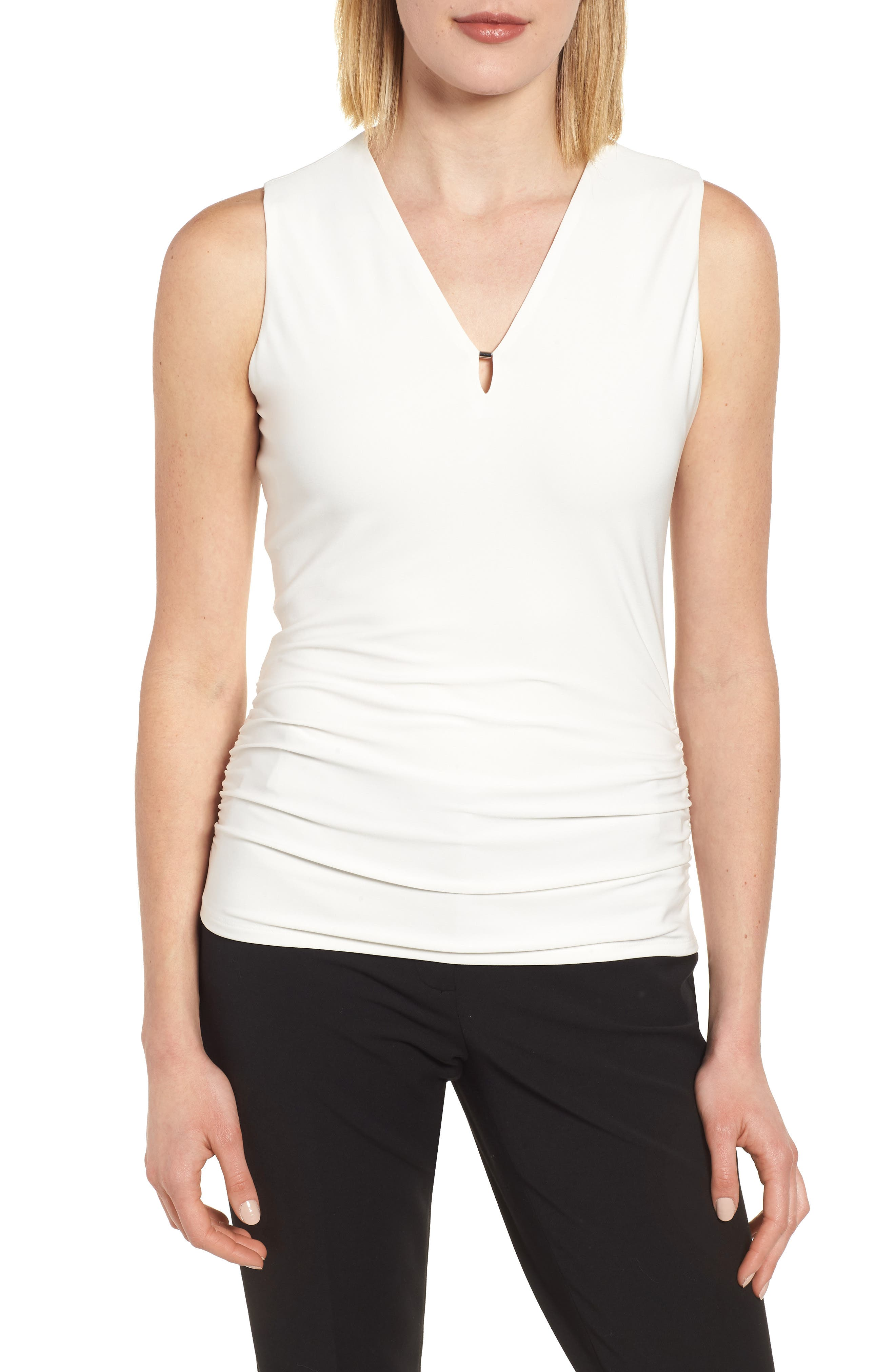 Side Ruched Top,                         Main,                         color, White