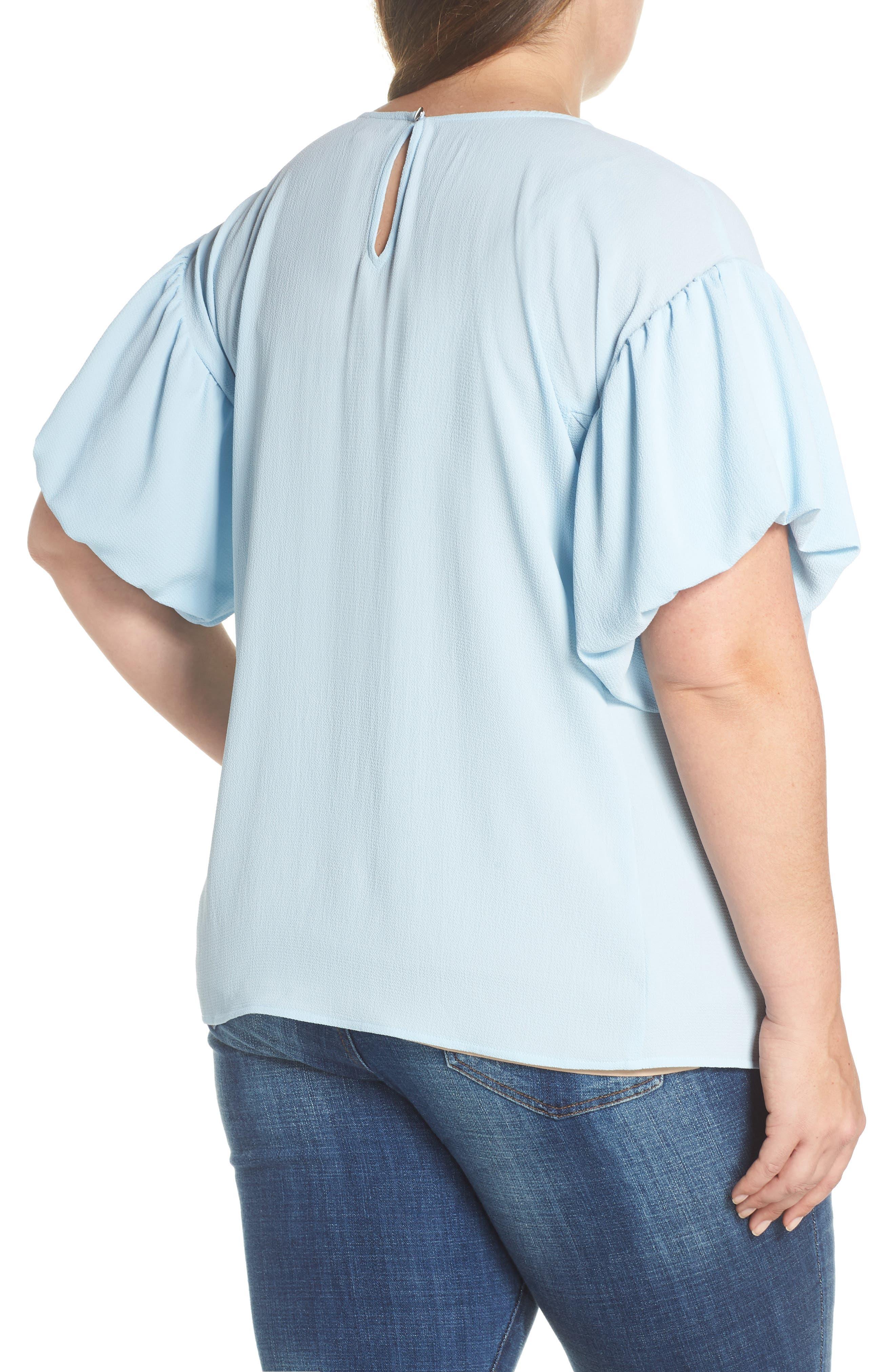 Bubble Sleeve Blouse,                             Alternate thumbnail 2, color,                             Dew Blue