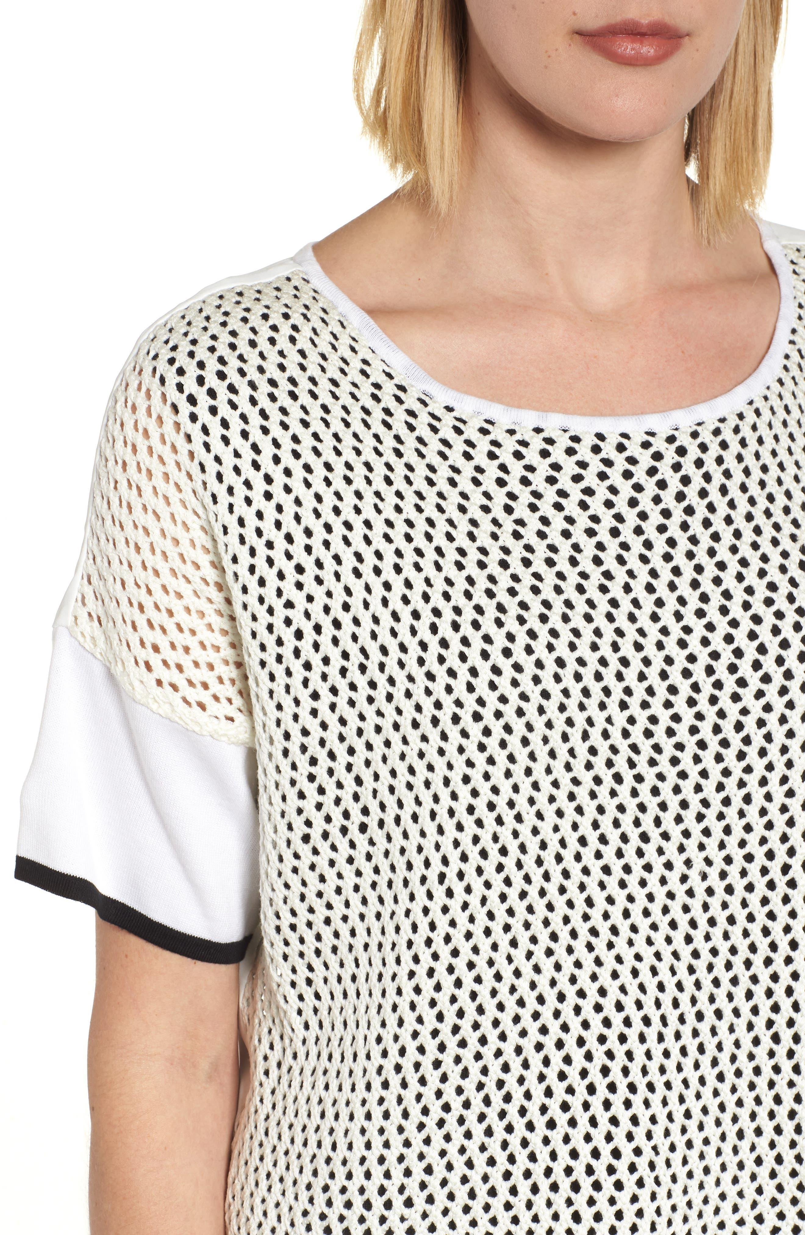 Mixed Media Short Sleeve Tunic Top,                             Alternate thumbnail 4, color,                             White/ Black