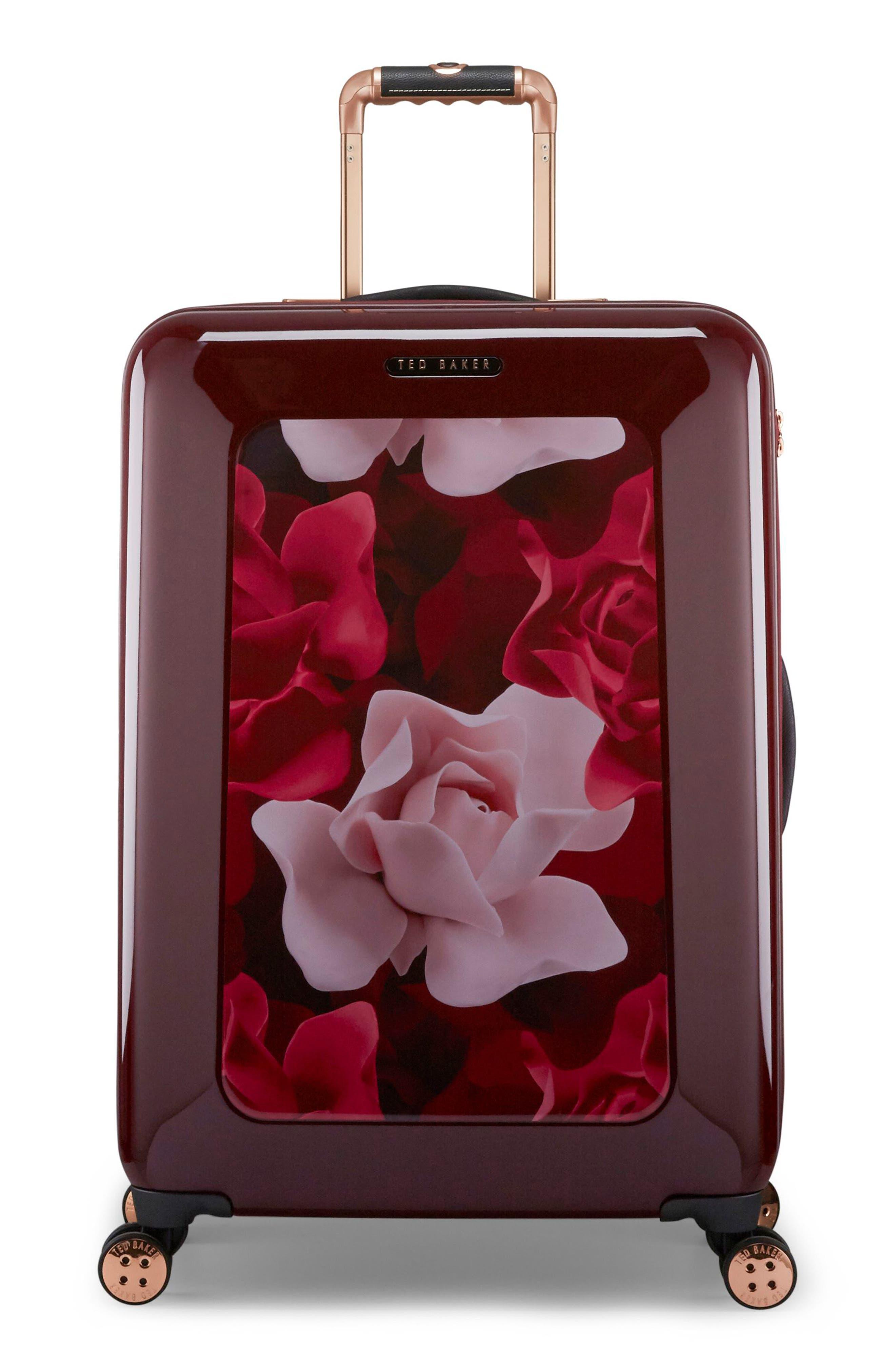 Medium Porcelain Rose 27-Inch Hard Shell Spinner Suitcase,                             Main thumbnail 1, color,                             Burgundy