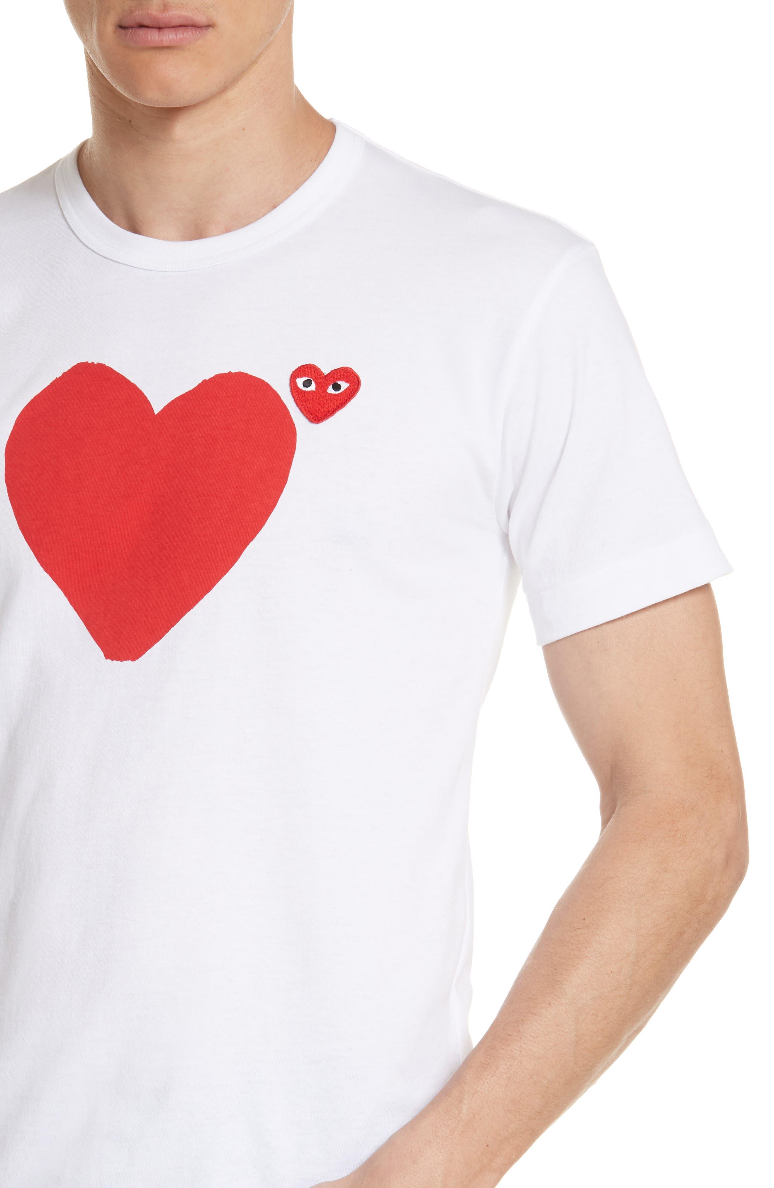 Comme des Garçons PLAY Graphic T-Shirt,                             Alternate thumbnail 4, color,                             1 White
