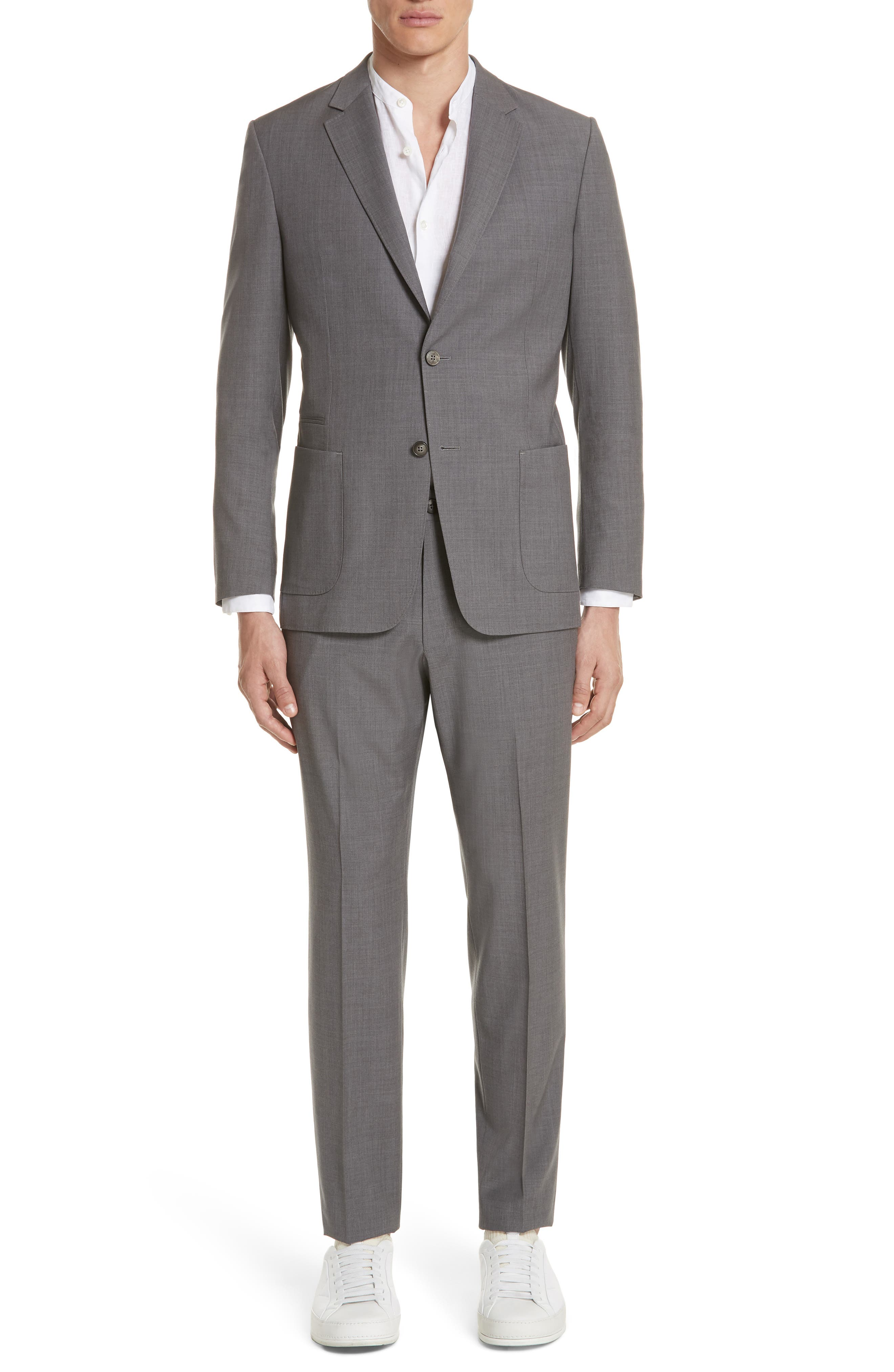 TECHMERINO<sup>™</sup> Wash & Go Trim Fit Solid Wool Suit,                             Main thumbnail 1, color,                             Solid Grey
