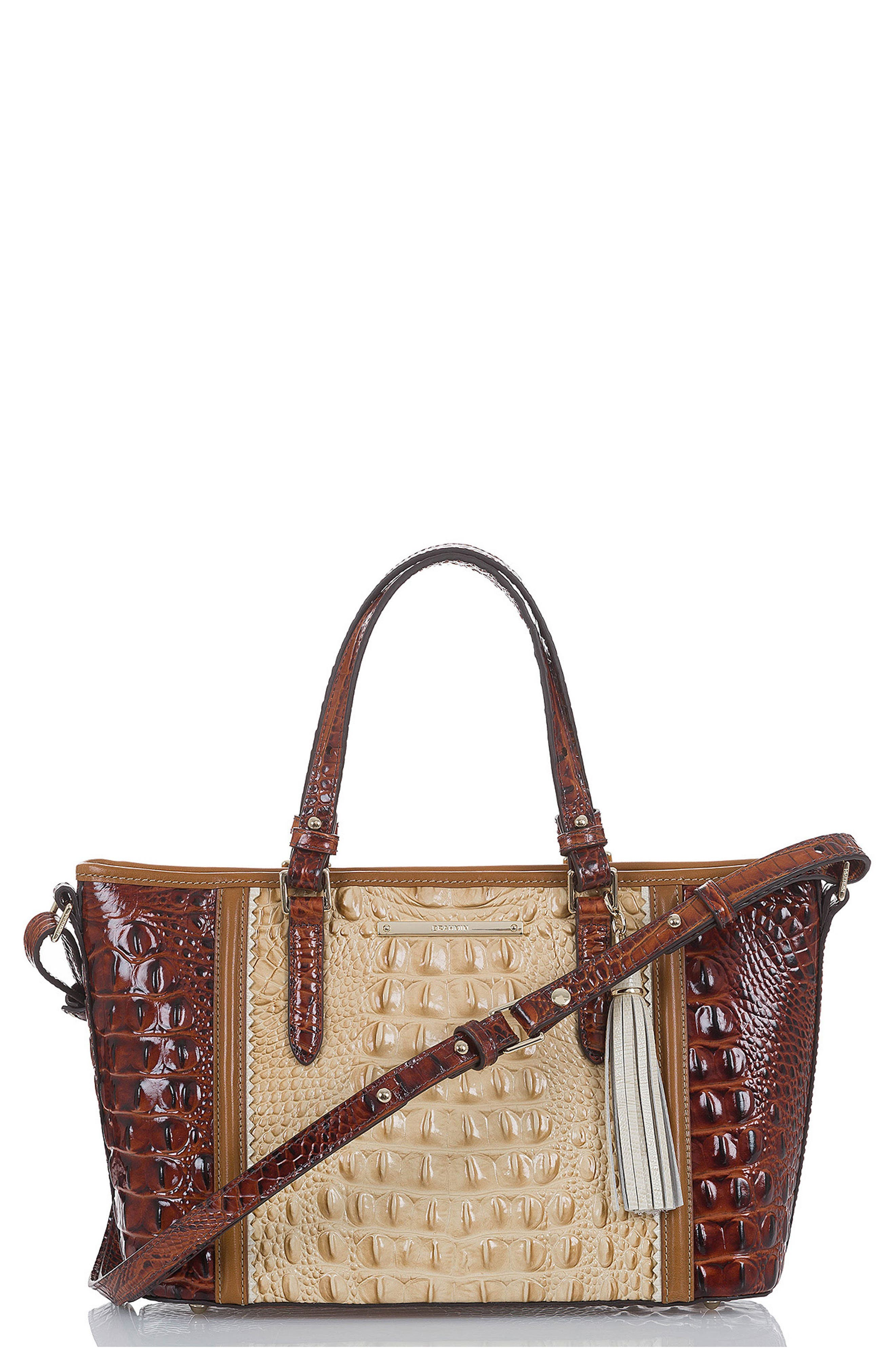 Mini Asher Croc Embossed Leather Tote,                             Main thumbnail 1, color,                             Chino