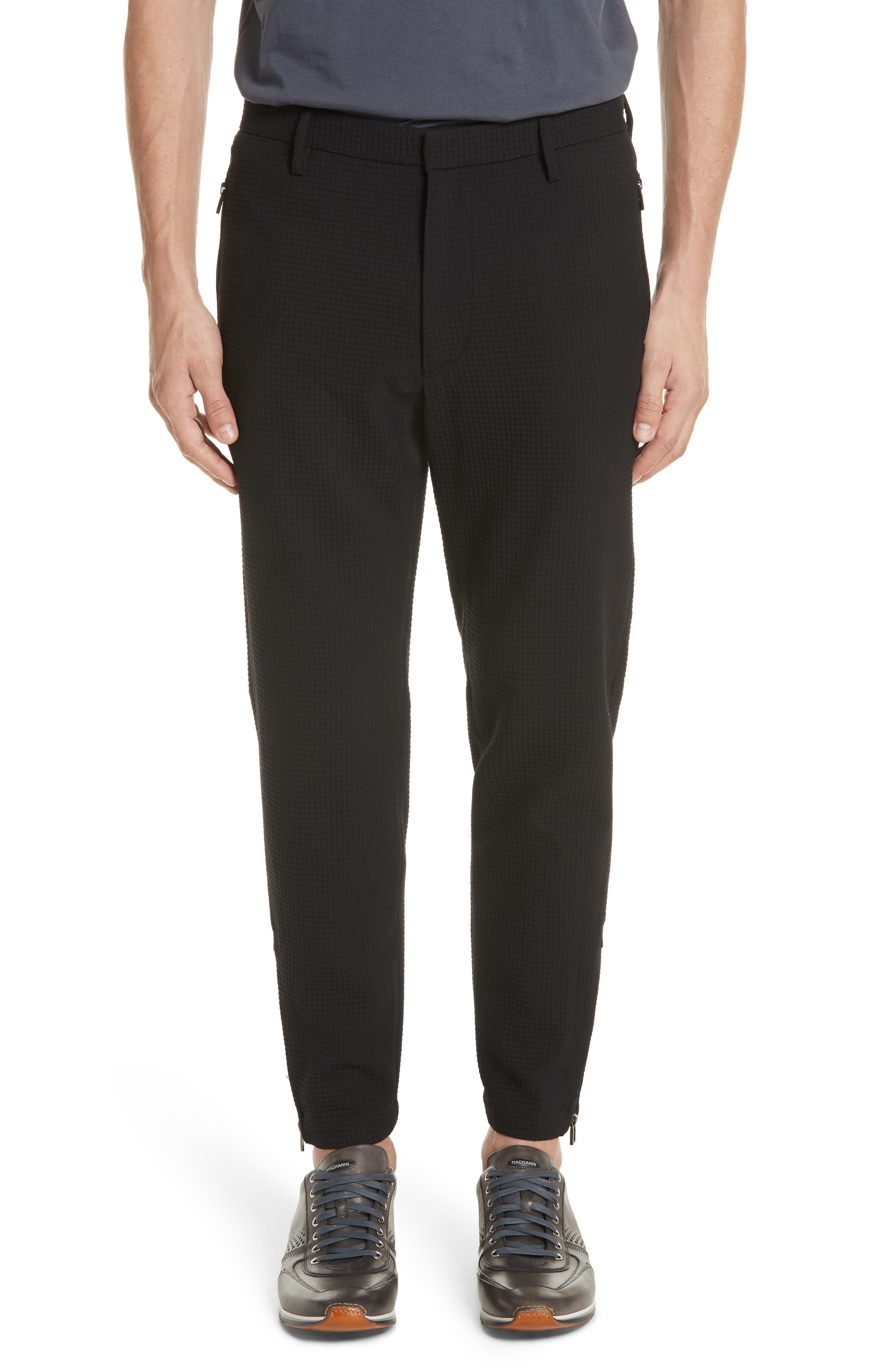 Emporio Armani Flat Front Stretch Check Wool Blend Trousers