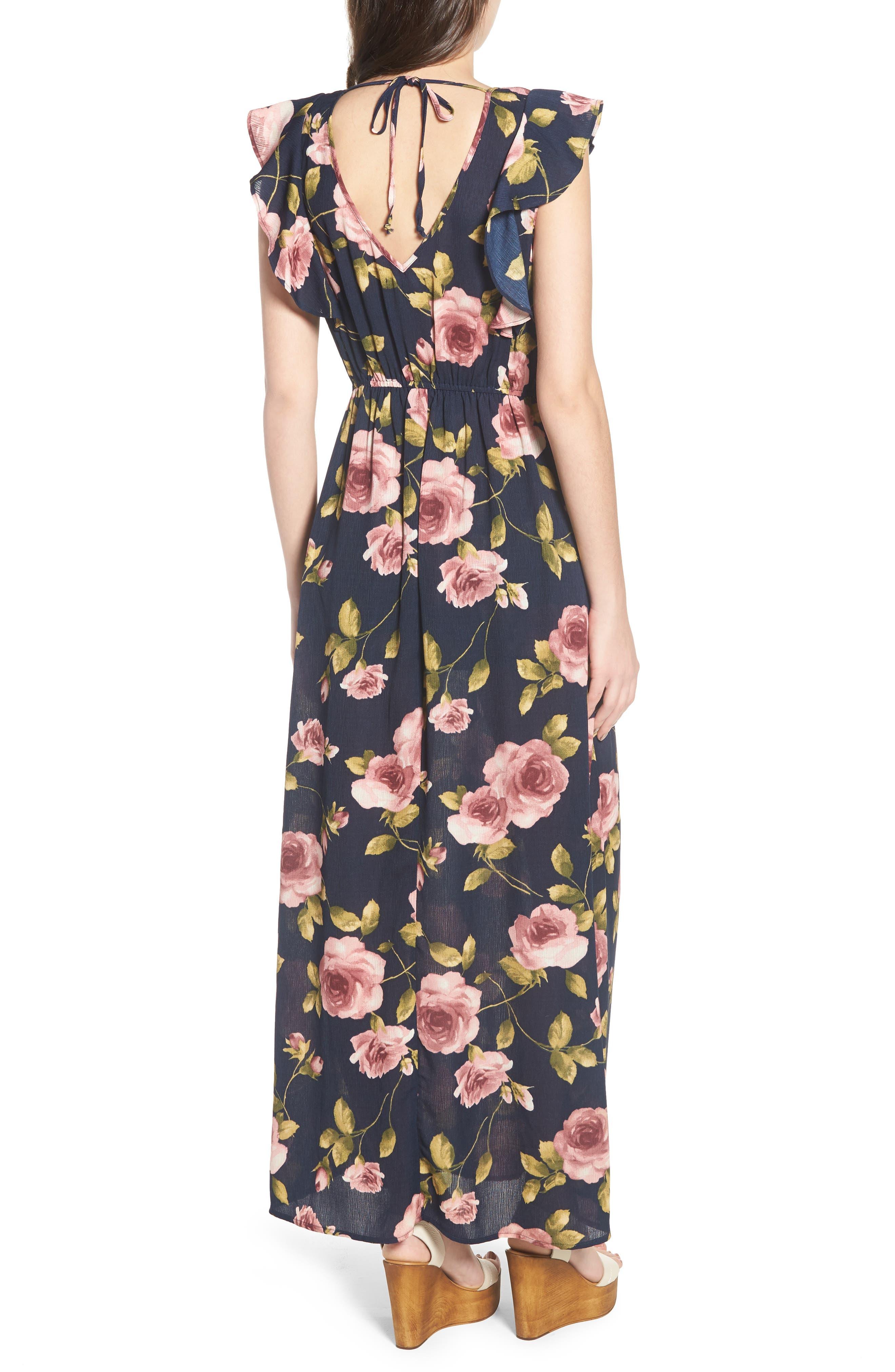 Flutter Sleeve Maxi Dress,                             Alternate thumbnail 2, color,                             Navy Blush