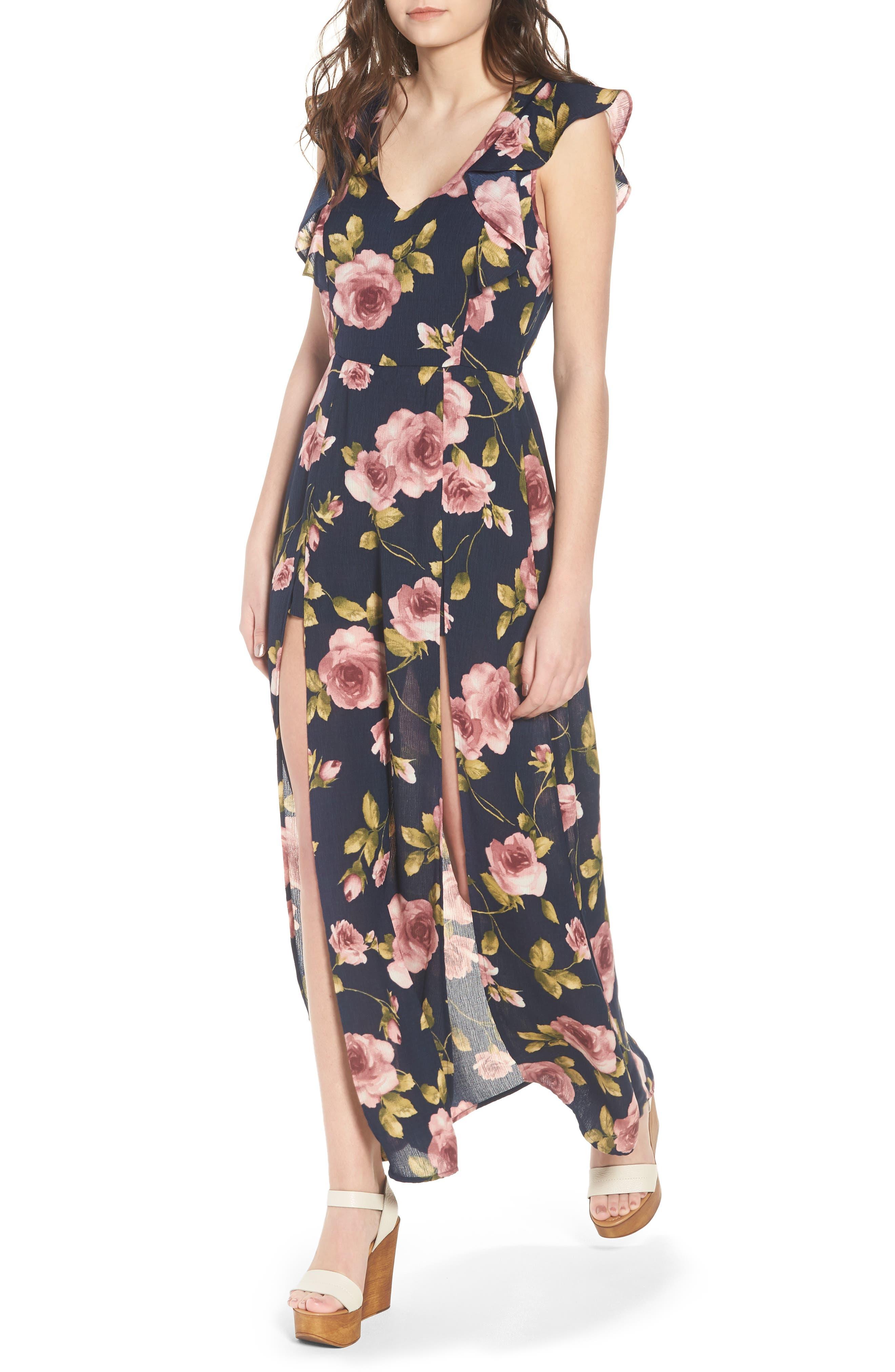 Flutter Sleeve Maxi Dress,                         Main,                         color, Navy Blush