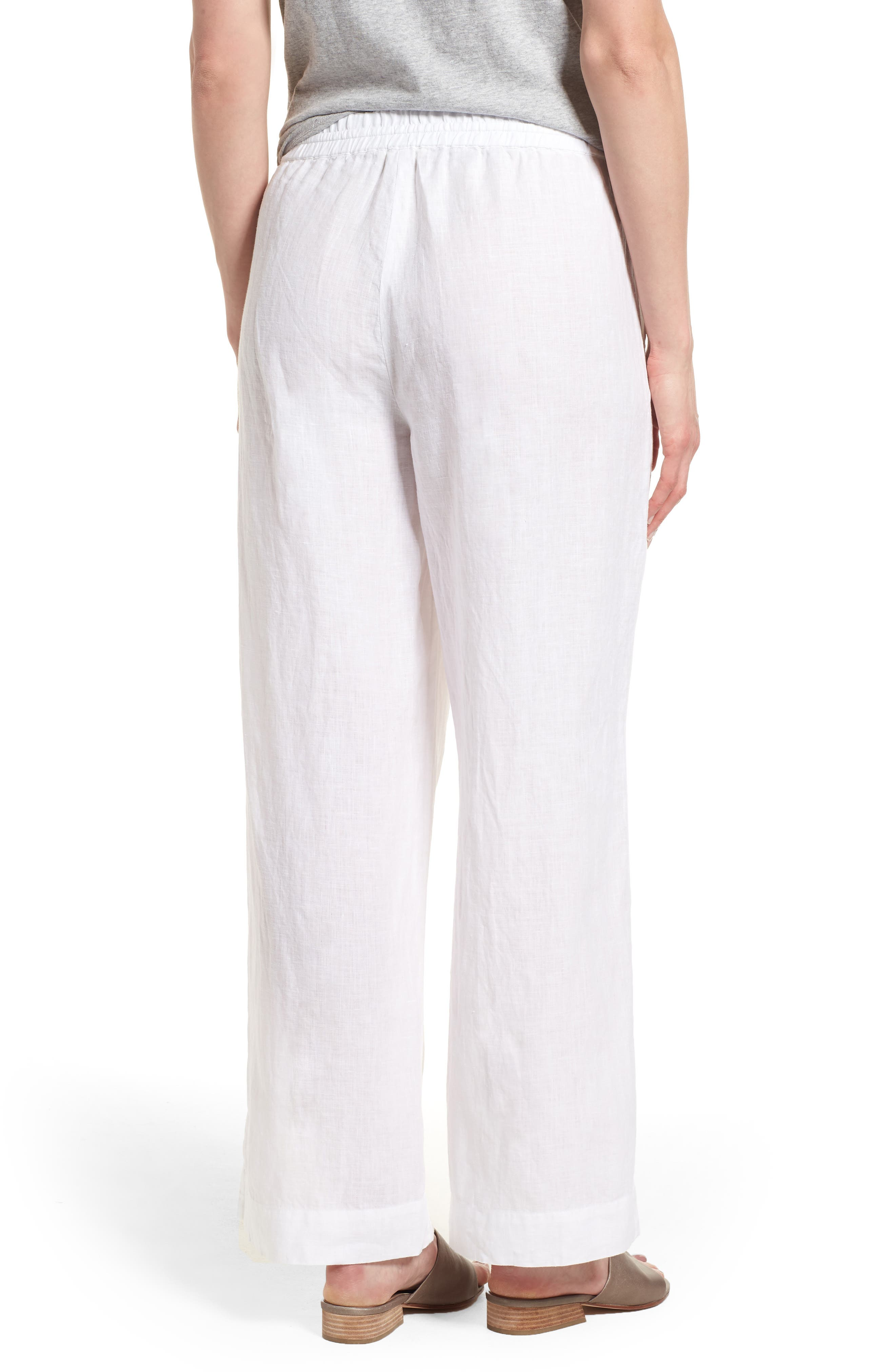 Wide Leg Organic Linen Pants,                             Alternate thumbnail 2, color,                             White