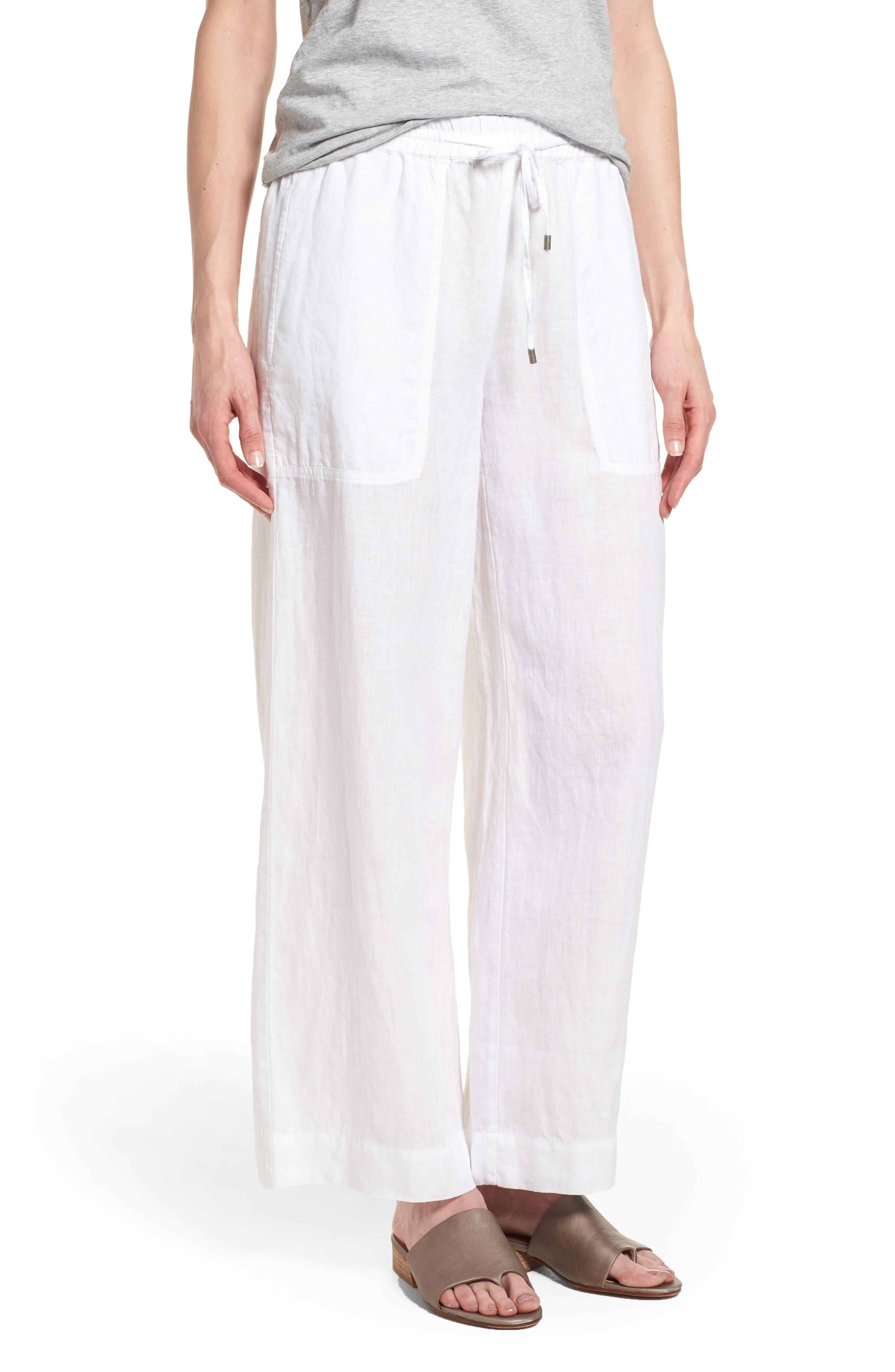 Wide Leg Organic Linen Pants,                             Main thumbnail 1, color,                             White