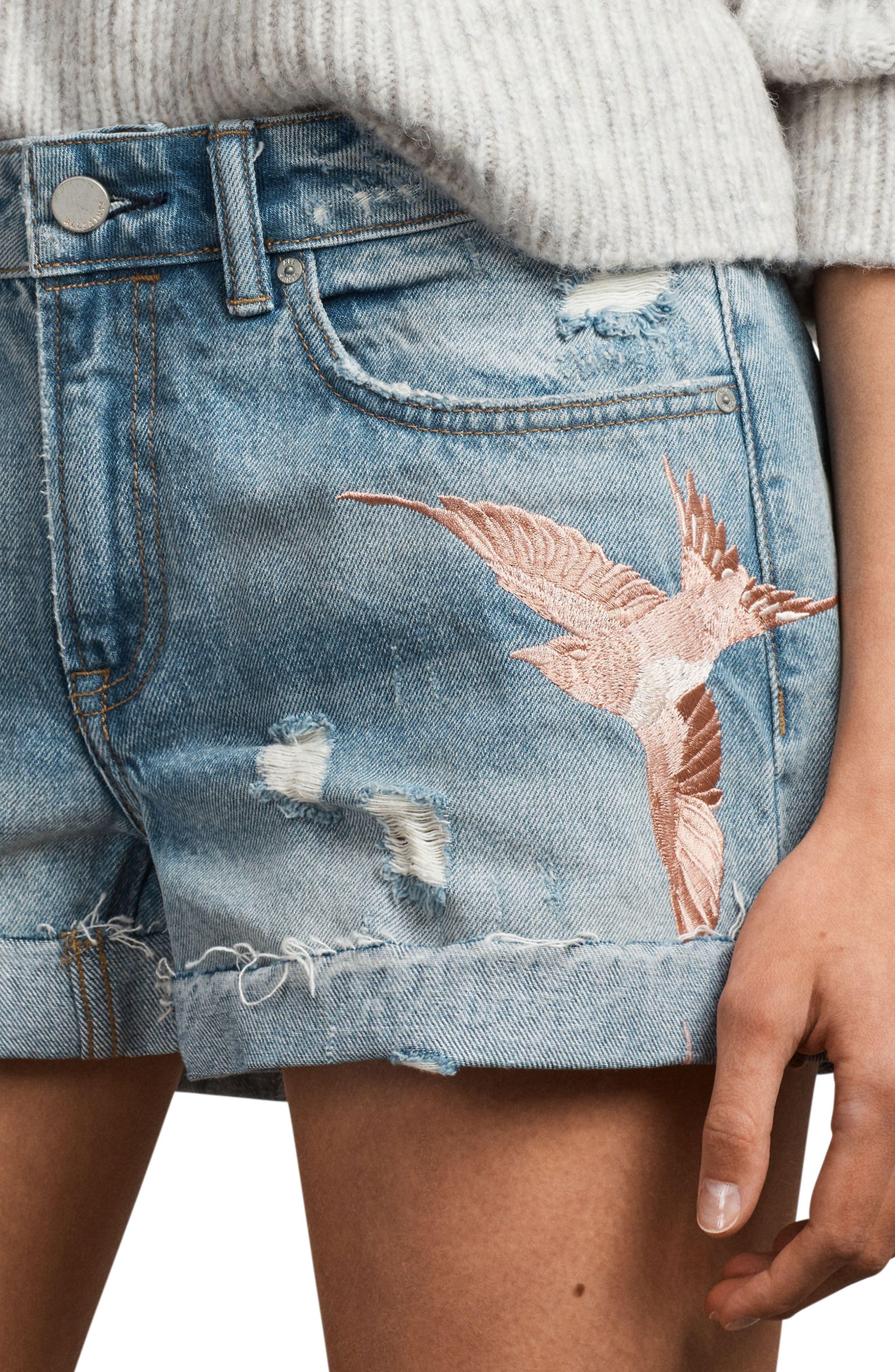 Birds Pam Embroidered Denim Shorts,                             Alternate thumbnail 3, color,                             Indigo Blue