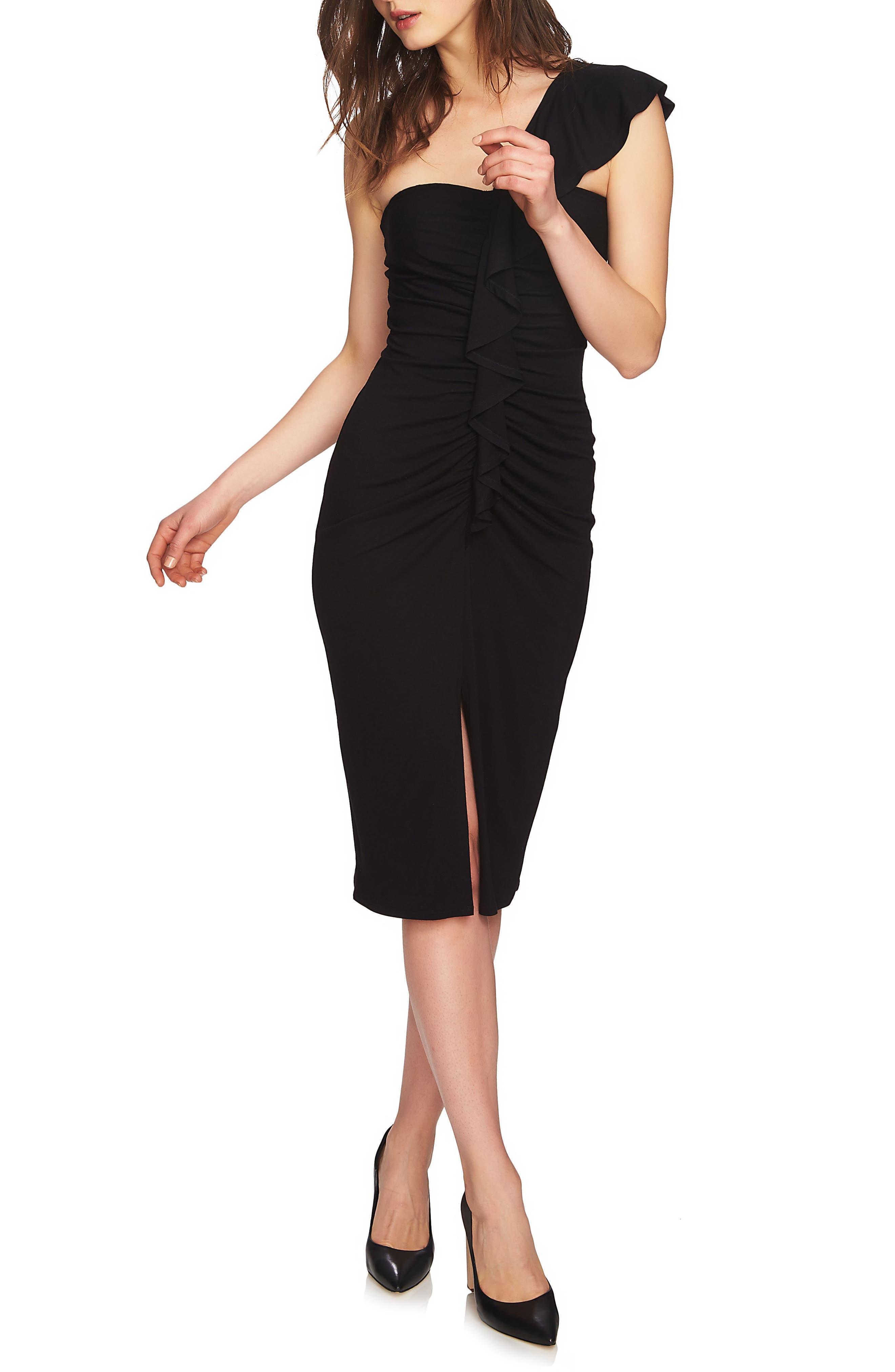 One-Shoulder Ruffle Midi Dress,                         Main,                         color, Rich Black