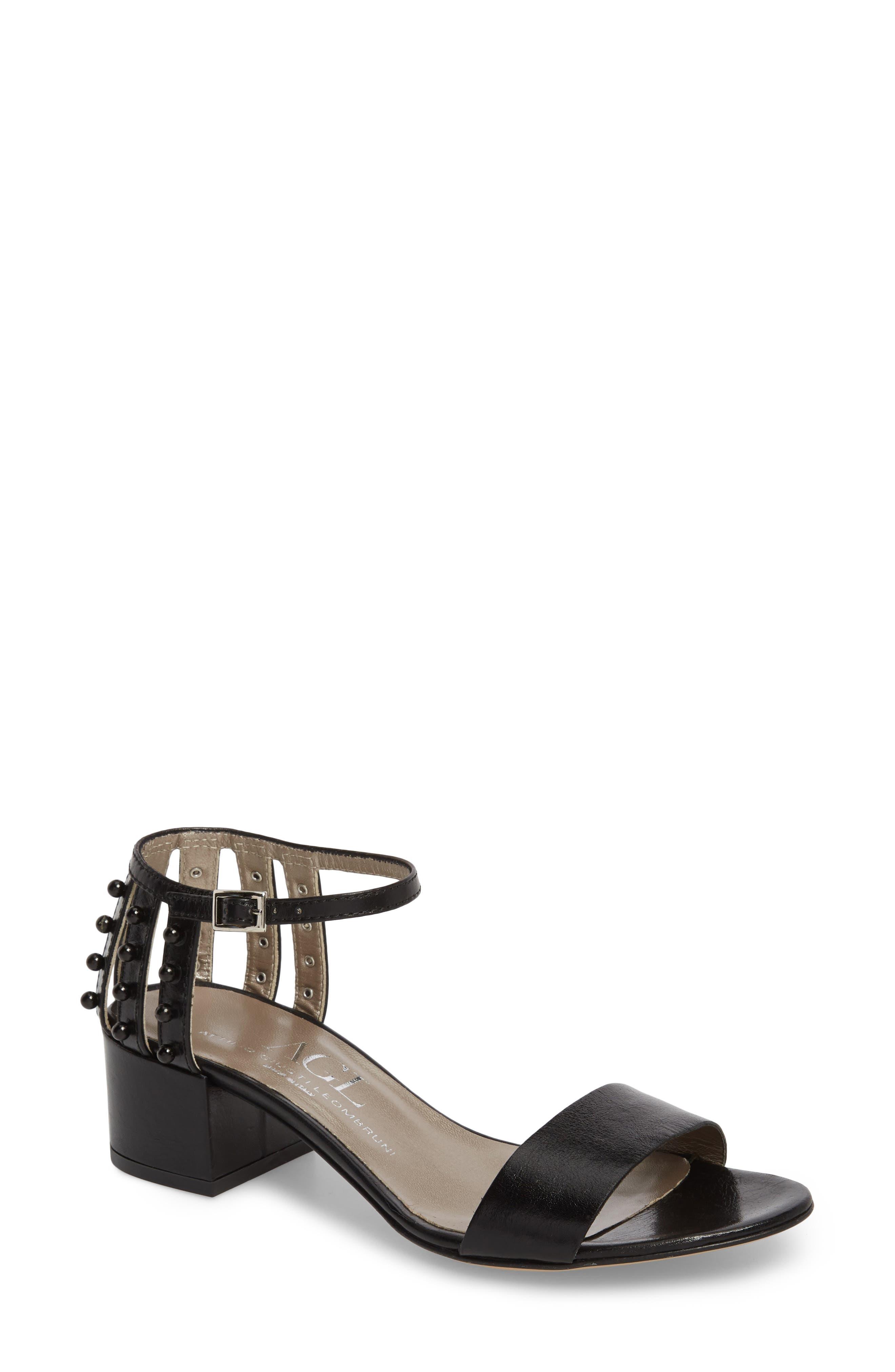 AGL ATTILIO GIUSTI LEOMBRUNI Women's Studded Block Heel Slide Sandal Gsb930v