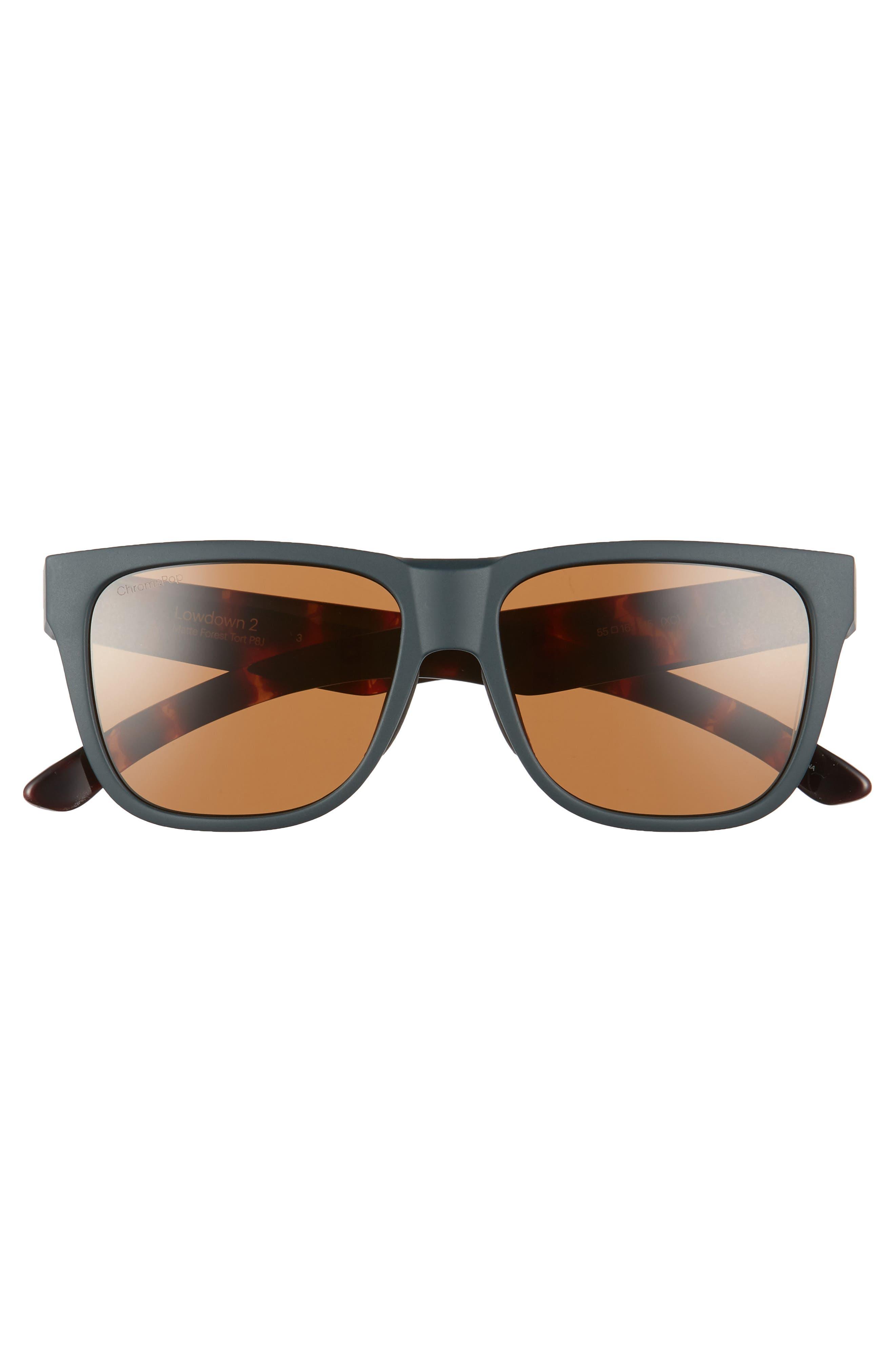 Lowdown 2 55mm ChromaPop<sup>™</sup> Square Sunglasses,                             Alternate thumbnail 3, color,                             Matte Forest Tortoise