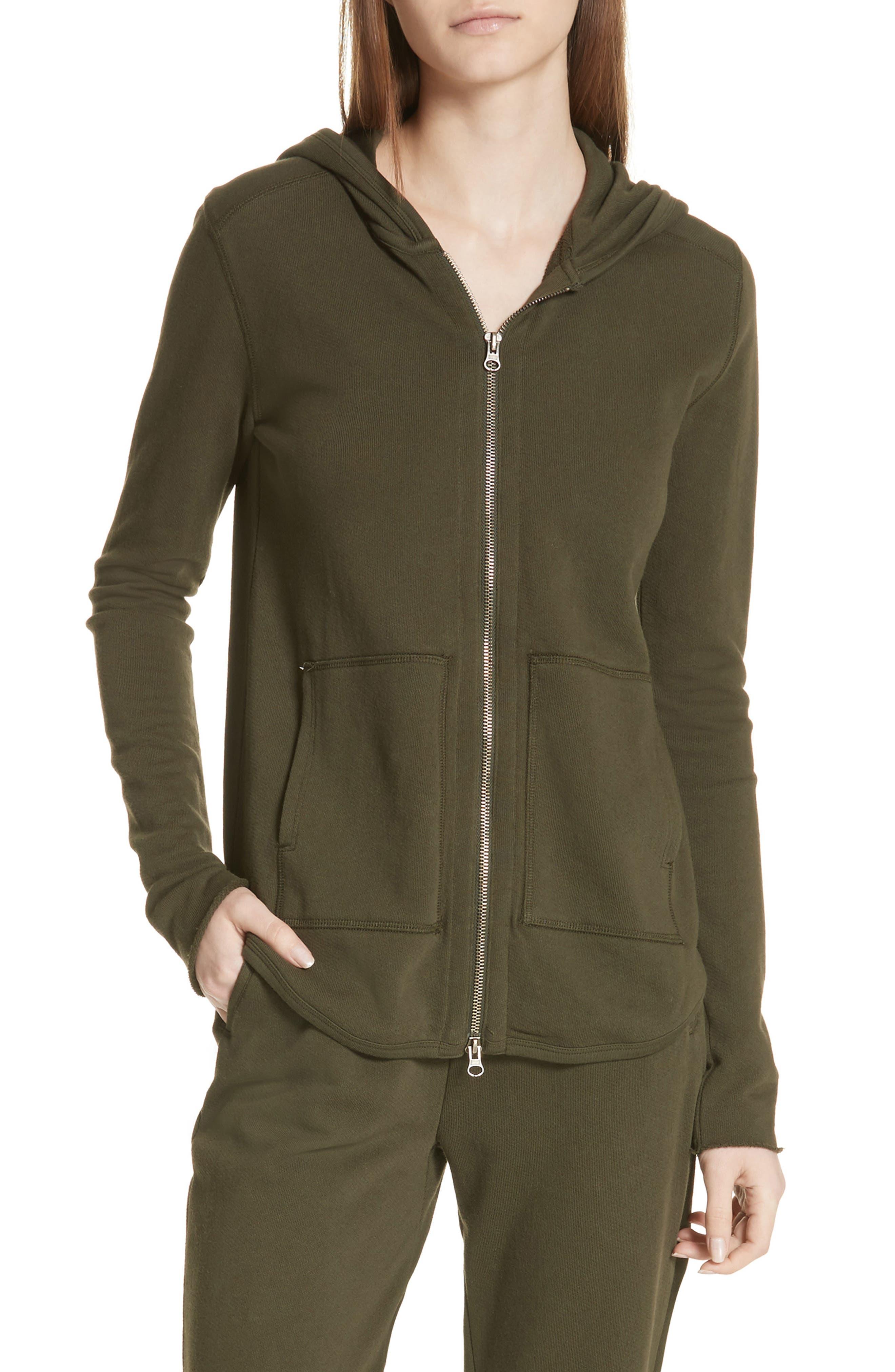 Front Zip Hoodie,                         Main,                         color, Pine