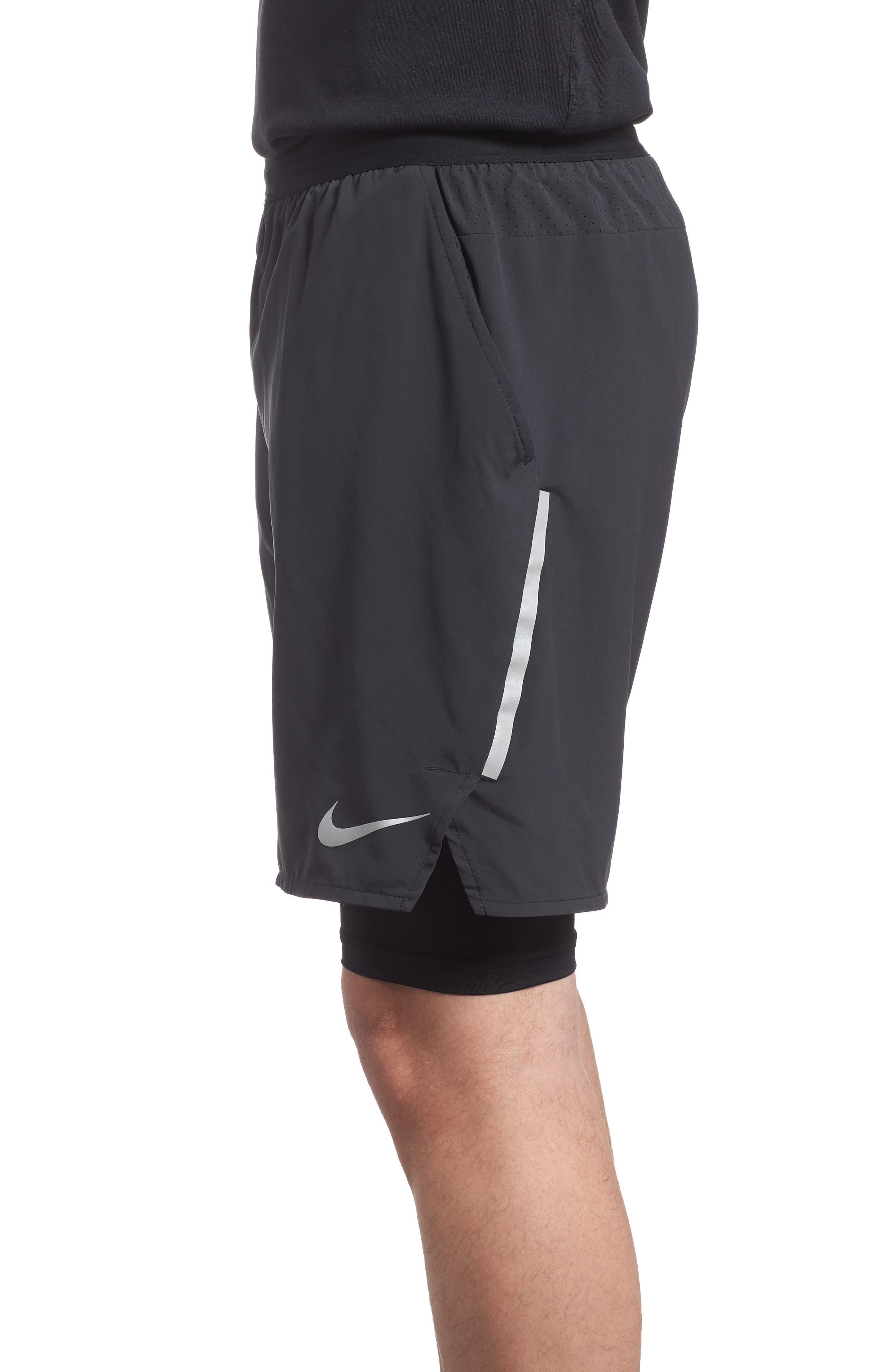 Flex Distance Running Shorts,                             Alternate thumbnail 3, color,                             Black/ Black