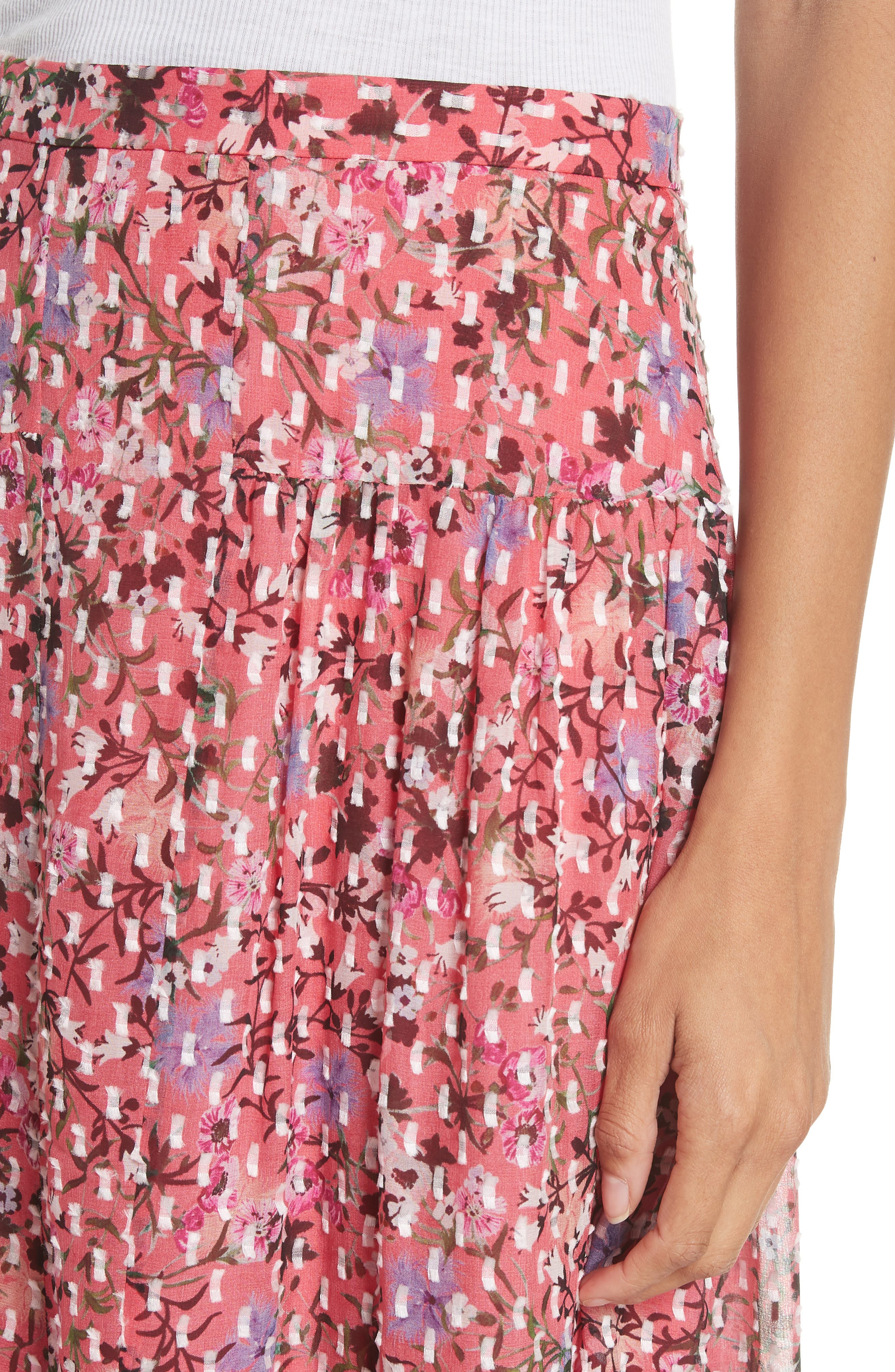Andie Ruffle Hem Silk Blend Skirt,                             Alternate thumbnail 4, color,                             Coral Meadow