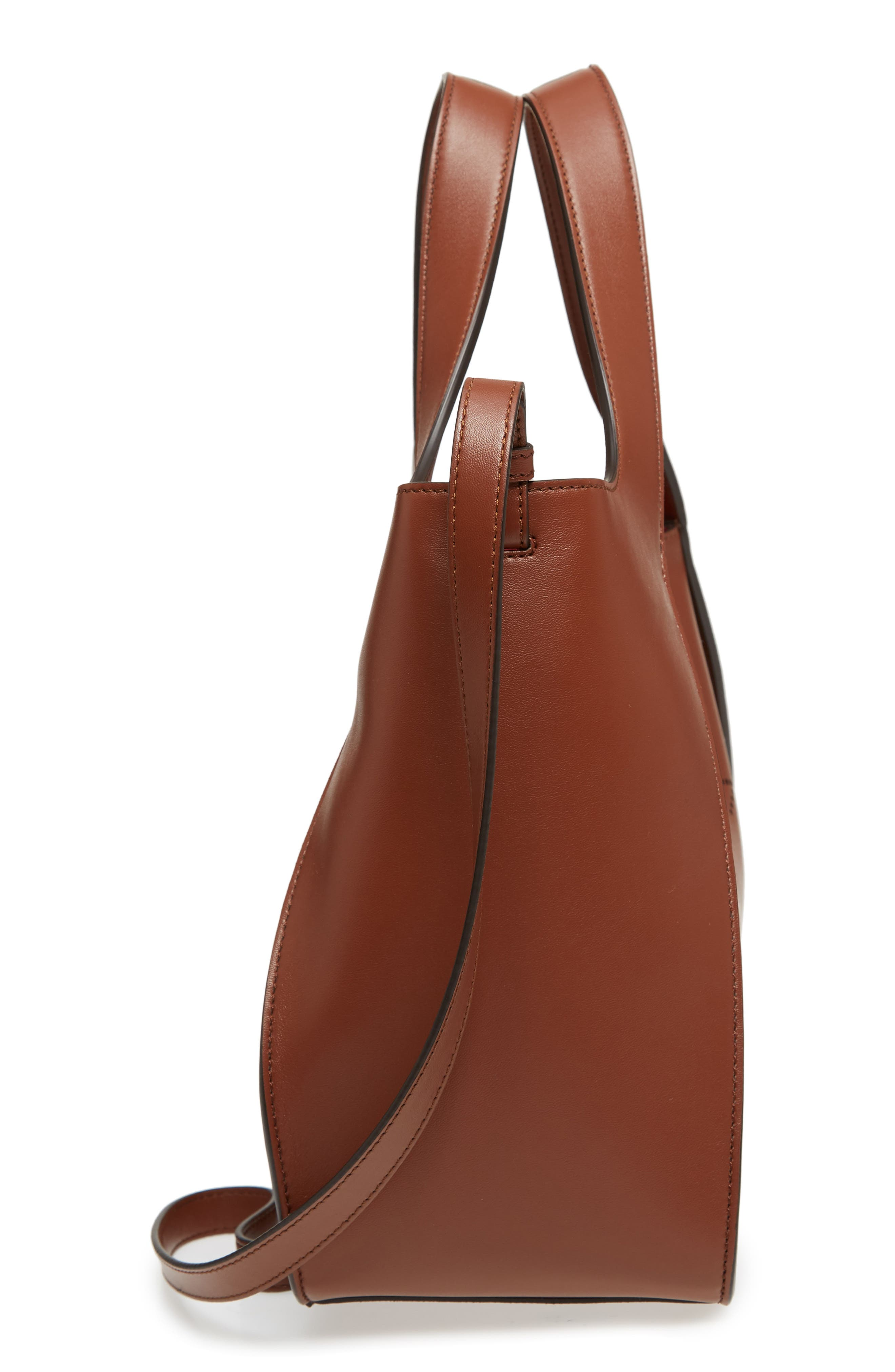 Perforated Logo Faux Leather Satchel,                             Alternate thumbnail 5, color,                             Pecan