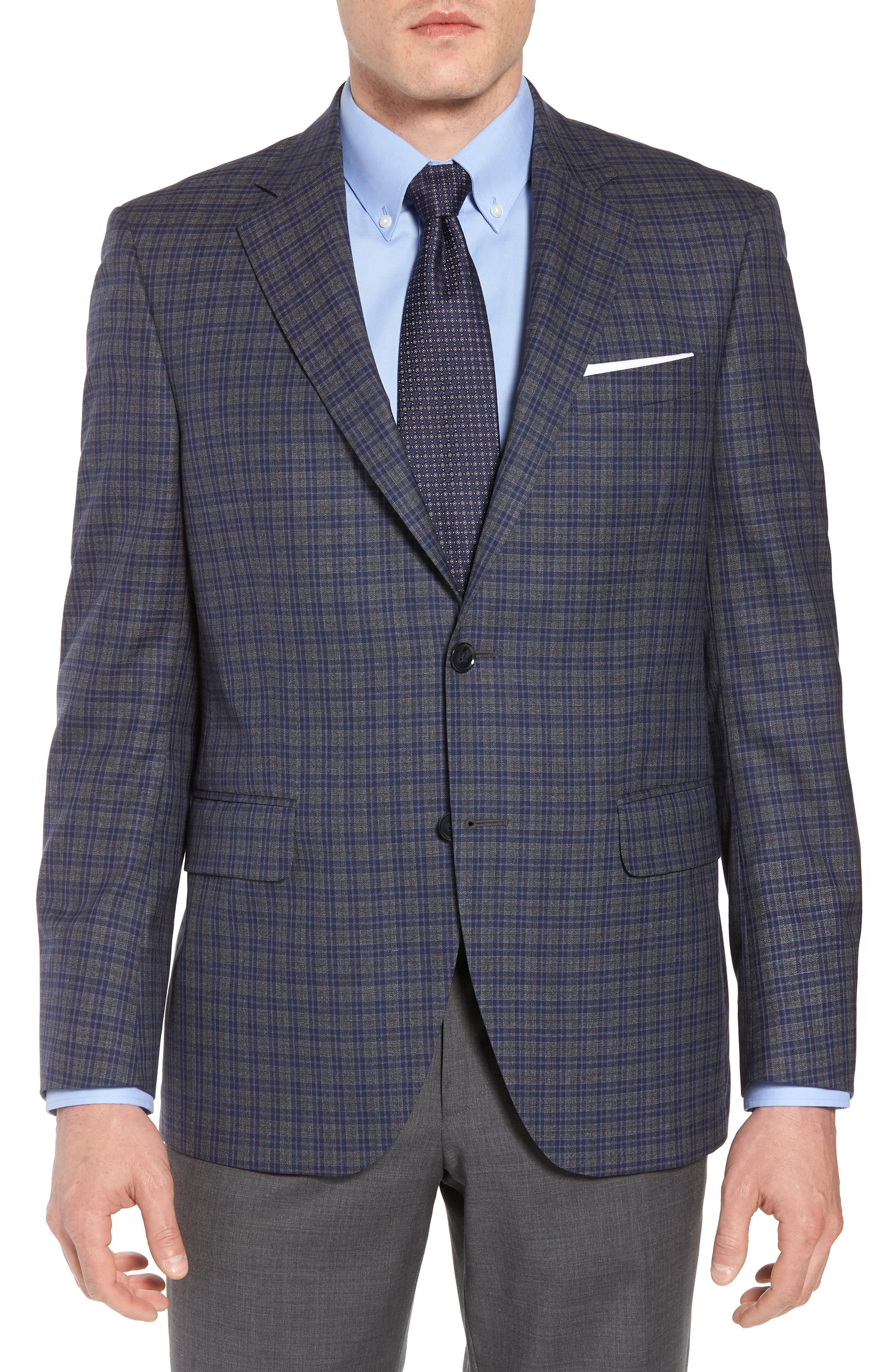 Classic Fit Check Wool Sport Coat,                         Main,                         color, Grey/Blue