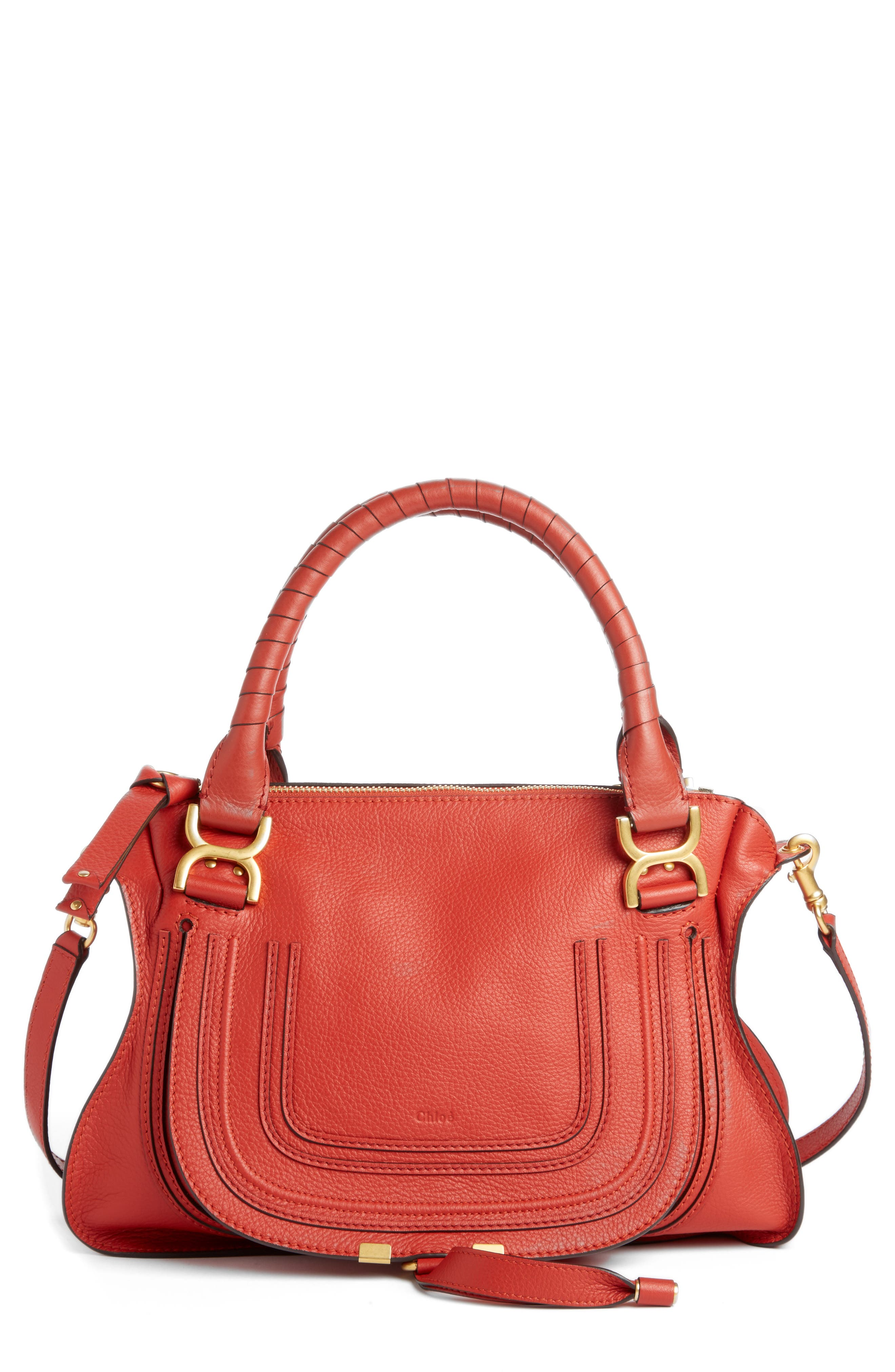 'Medium Marcie' Leather Satchel,                             Main thumbnail 1, color,                             Earthy Red