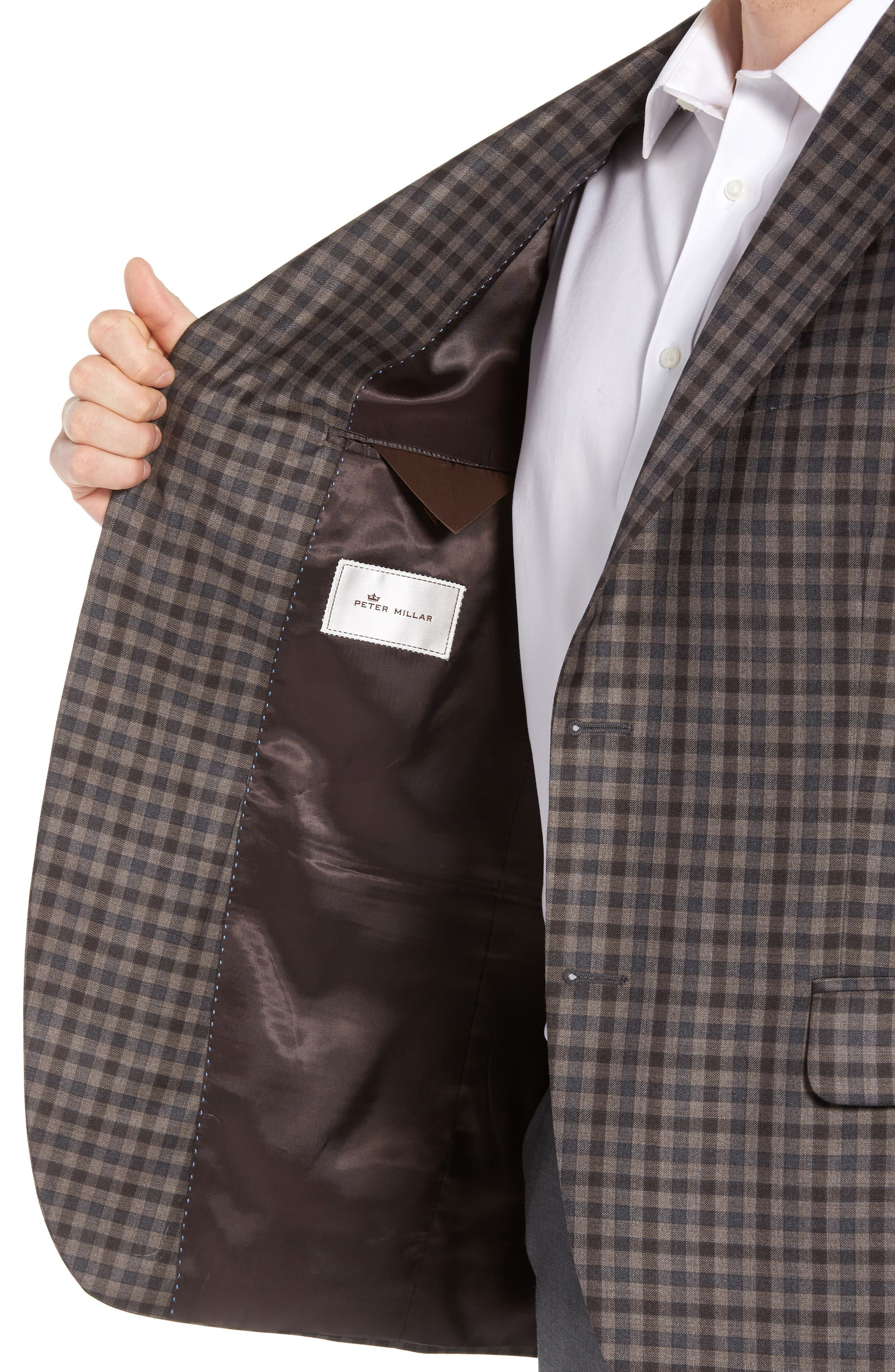 Classic Fit Check Wool Sport Coat,                             Alternate thumbnail 4, color,                             Brown/Grey
